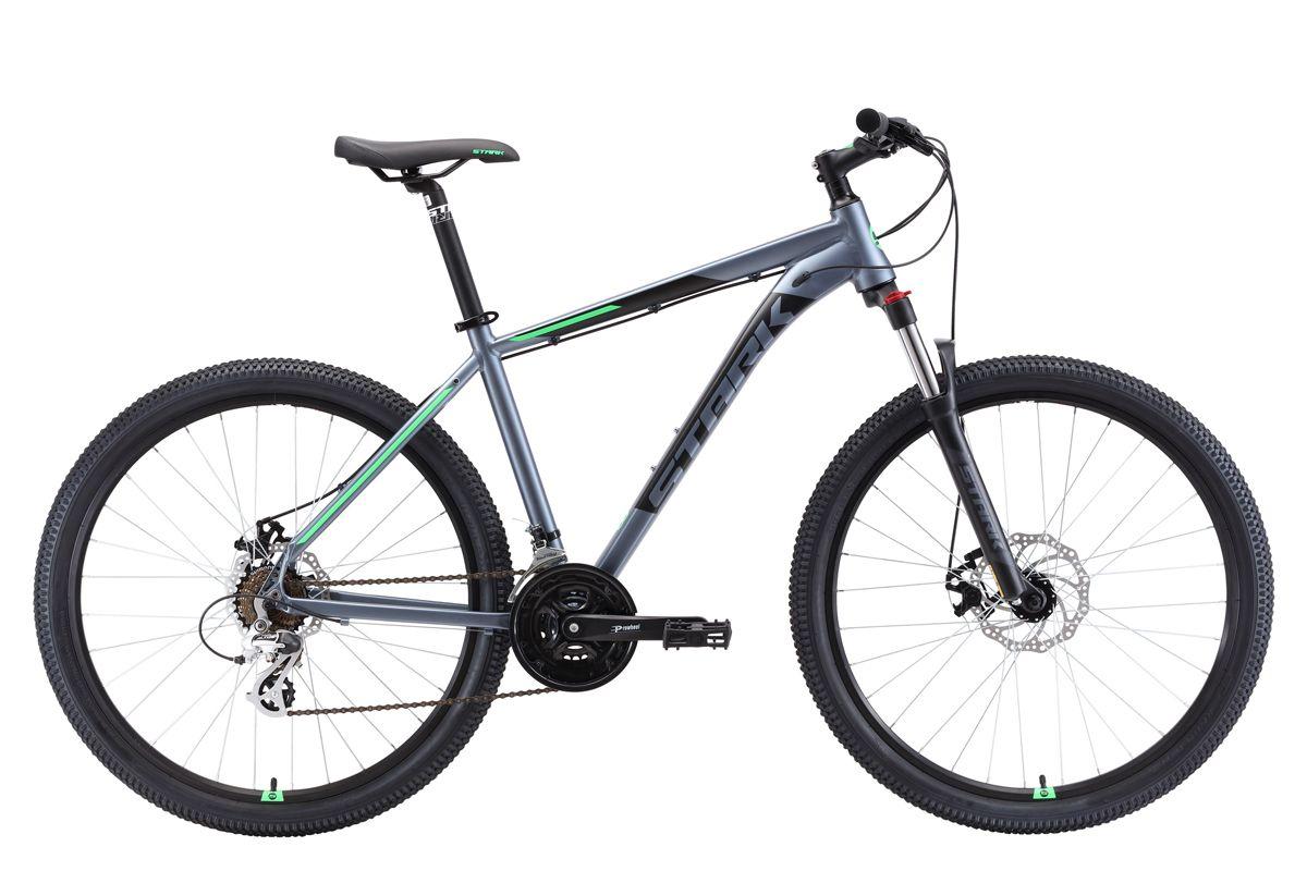 Велосипед Stark Router 27.3 D (2018) тёмно-серый/чёрный/зелёный 18КОЛЕСА 27.5 (НОВЫЙ СТАНДАРТ)<br>Горный велосипед Stark Router 27.3 D #40;2018#41; - предназначен для туристического и прогулочного катания по любому дорожному покрытию. Велосипед собран на алюминиевой раме с интегрированной рулевой колонкой и оборудован механическими дисковыми тормозами. 21 передача позволяет велосипедисту подбирать правильную нагрузку в различных условиях. Передняя пружинно-эластомерная вилка, с ходом амортизатора 100мм. Колёса имеют диаметр 27,5 дюймов. Выбор необходимой передачи выполняется с помощью оборудования Shimano. Для управления передачами, на руле установлены курковые переключатели. Stark Router 27.3 D #40;2018#41; комплектуется лёгким и широким алюминиевым рулём и грипсами с блокировкой, что исключает прокручивание грипсы вокруг руля. Дисковые тормоза создают хорошее тормозное усилие и эффективны не только на асфальте, но и на бездорожье, в любую погоду.<br><br>бренд: STARK<br>год: 2018<br>рама: Алюминий (Alloy)<br>вилка: Амортизационная (пружина)<br>блокировка амортизатора: Да<br>диаметр колес: 27,5 (650B)<br>тормоза: Дисковые механические<br>уровень оборудования: Начальный<br>количество скоростей: 21<br>Цвет: тёмно-серый/чёрный/зелёный<br>Размер: 18