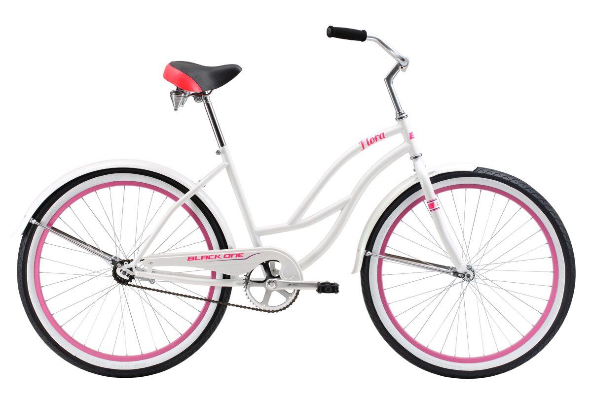 Велосипед Black One Flora 26 (2017) бело-розовый 18КРУИЗЕРЫ / РЕТРО<br><br><br>бренд: BLACK ONE<br>год: 2017<br>рама: Сталь (Hi-Ten)<br>вилка: Жесткая (сталь)<br>блокировка амортизатора: Нет<br>диаметр колес: 26<br>тормоза: Ножной ( Coaster brake)<br>уровень оборудования: Начальный<br>количество скоростей: 1<br>Цвет: бело-розовый<br>Размер: 18