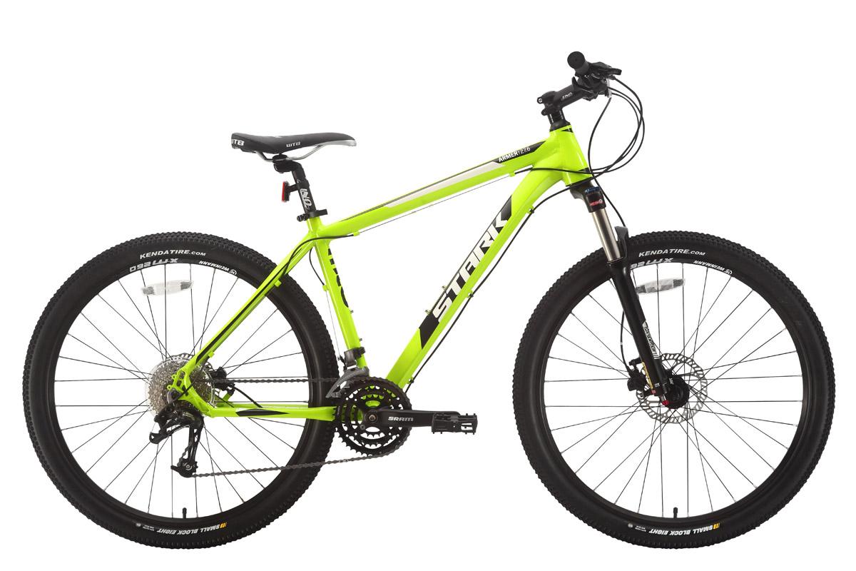 Велосипед Stark Armer 27.6 HD (2018) зелёный/чёрный/белый 18КОЛЕСА 27.5 (НОВЫЙ СТАНДАРТ)<br><br><br>бренд: STARK<br>год: 2018<br>рама: Алюминий (Alloy)<br>вилка: Амортизационная (пружина)<br>блокировка амортизатора: Да<br>диаметр колес: 27,5 (650B)<br>тормоза: Дисковые гидравлические<br>уровень оборудования: Продвинутый<br>количество скоростей: 27<br>Цвет: зелёный/чёрный/белый<br>Размер: 18