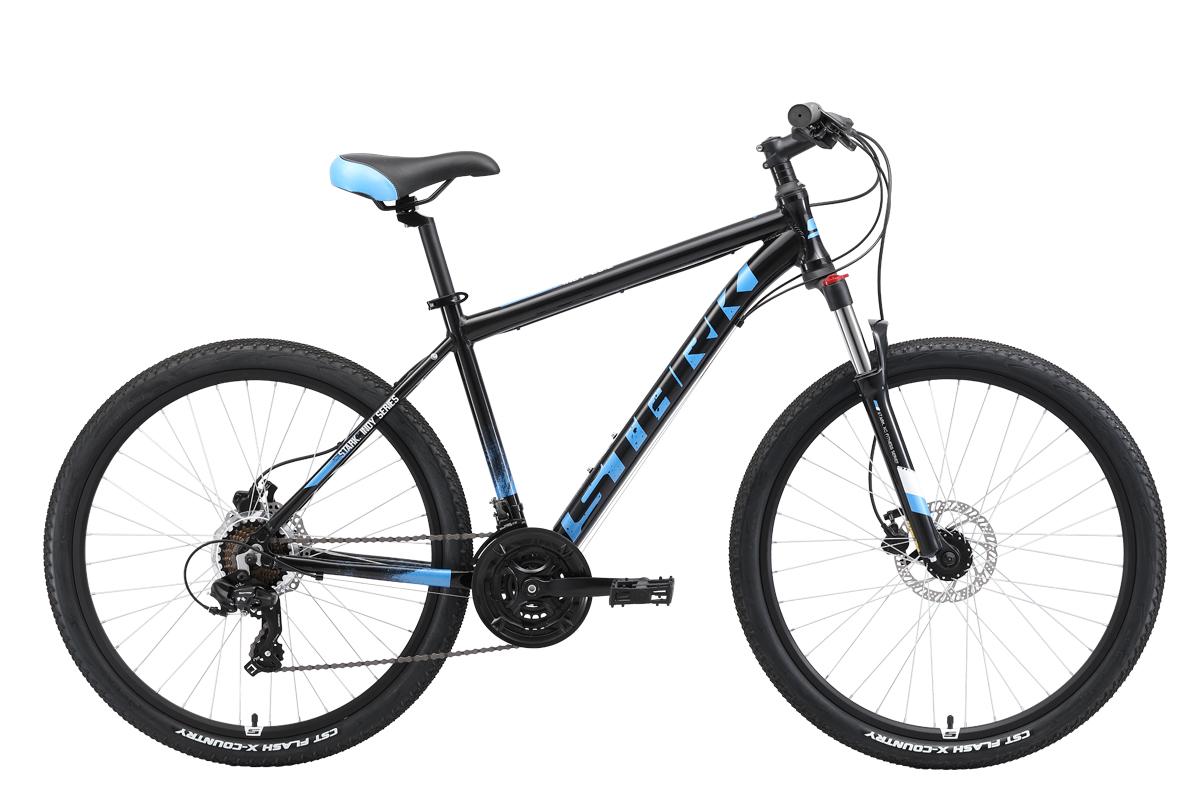 Велосипед Stark Indy 26.2 HD 2019 чёрный-синий-голубой 18 д