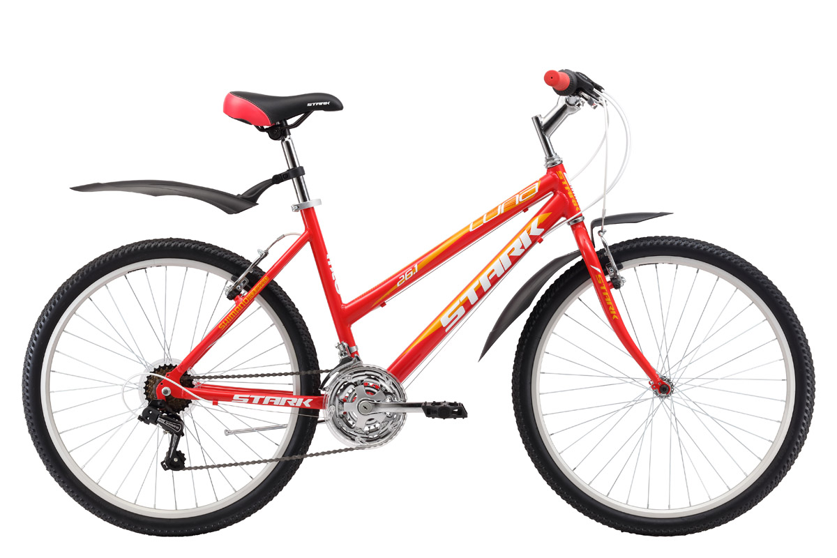 Велосипед Stark Luna 26.1 RV (2017) красно-желтый 18СПОРТИВНЫЕ<br>Этот практичный женский велосипед, как нельзя лучше, подходит для неторопливых прогулок в парке. Так как велосипед оборудован алюминиевой рамой и жёсткой вилкой это повлияло на вес, он стал меньше, и на легкость наката, велосипед быстрее набирает скорость. Данная модель оборудована 18 скоростной трансмиссией, ободными тормозами и удобными переключателями SHIMANO. Колеса, классического размера 26 дюймов, на двойных алюминиевых ободах, устойчивы к деформациям и отлично выдерживают нагрузки на любой дороге.<br><br>бренд: STARK<br>год: 2017<br>рама: Алюминий (Alloy)<br>вилка: Жесткая (сталь)<br>блокировка амортизатора: Нет<br>диаметр колес: 26<br>тормоза: Ободные (V-brake)<br>уровень оборудования: Начальный<br>количество скоростей: 18<br>Цвет: красно-желтый<br>Размер: 18