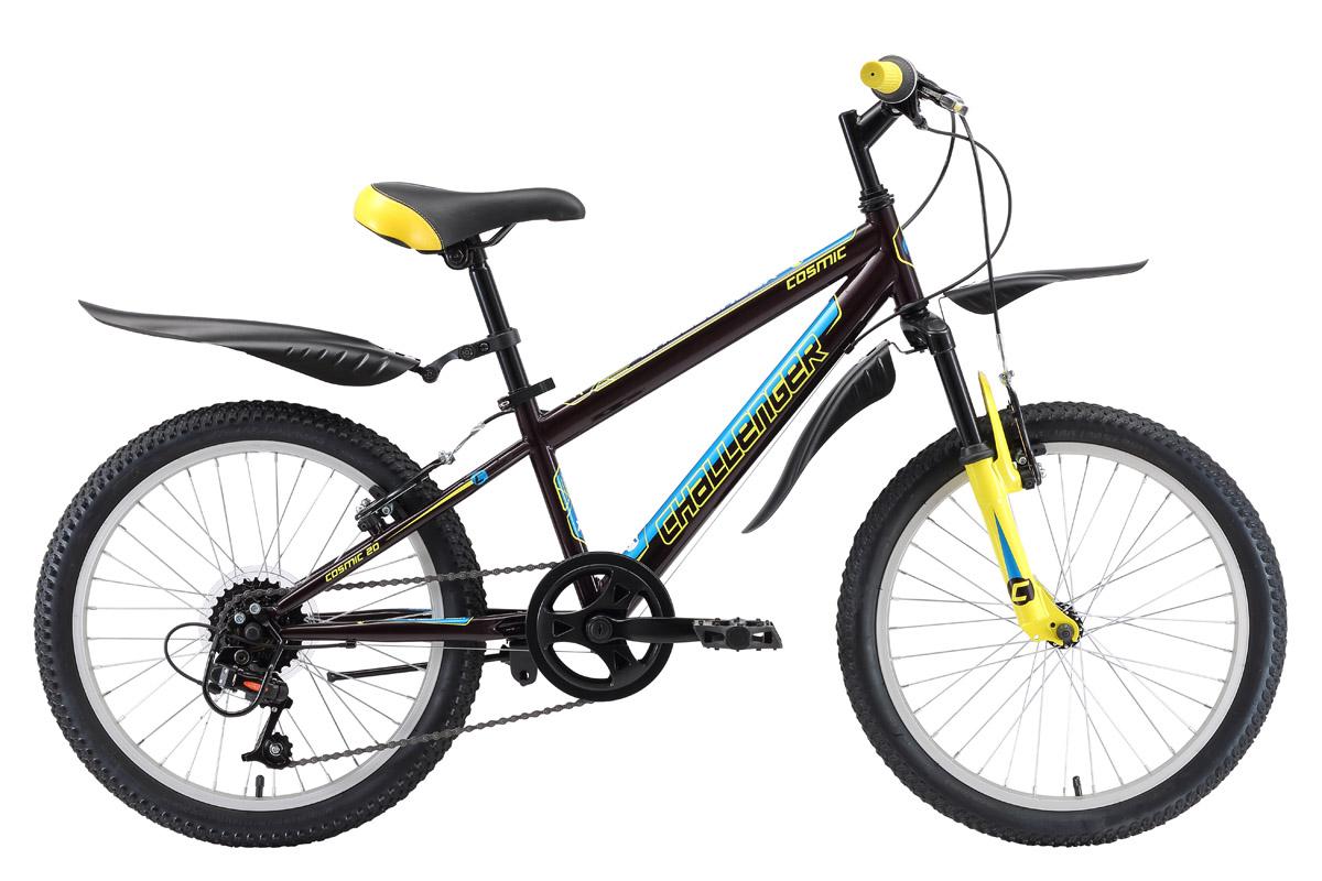 Велосипед Challenger Cosmic 20 2018 чёрный-жёлтый-голубой one size