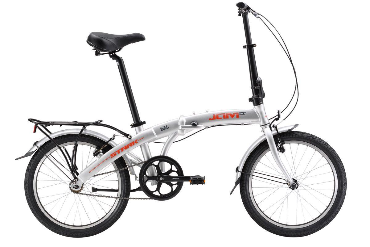 Велосипед Stark Jam 20.1 SV (2017) серебристо-красный one sizeГОРОДСКИЕ СКЛАДНЫЕ<br>Stark Jam 20.1 SV - складной, 1 скоростной велосипед, с алюминиевой облегченной рамой и колесами 20 дюймов. Благодаря увеличенным колесам, этот велосипед хорошо преодолевает неровности на дороге. Велосипед оборудован тормозами типа V-brake и односкоростной трансмиссией. Система сборки велосипеда - простая и удобная. Этот велосипед придётся по душе жителям больших городов, ведь его можно перевозить в общественном транспорте. А также, его можно хранить даже в небольшой квартире. Велосипед имеет компактный багажник и широкие крылья. В обновленной модели 2017 года установлен сквозной подседельный штырь, проходящий через кареточный узел, изменена геометрия выноса руля, а также изменены механизмы складывания. Благодаря этим изменениям велосипед стал еще удобнее и надежнее.<br><br>бренд: STARK<br>год: 2017<br>рама: Алюминий (Alloy)<br>вилка: Жесткая (сталь)<br>блокировка амортизатора: None<br>диаметр колес: 20<br>тормоза: Ободные (V-brake)<br>уровень оборудования: Начальный<br>количество скоростей: 1<br>Цвет: серебристо-красный<br>Размер: one size