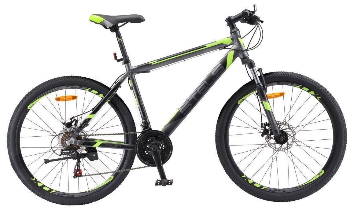 Велосипед Stels Navigator 600 MD 26 2018 антрацитовый-зеленый 18 д