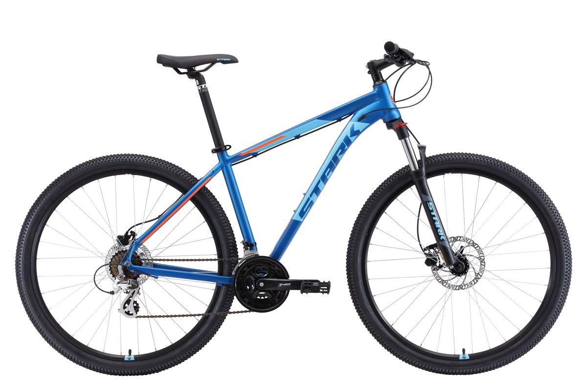 Велосипед Stark Router 29.3 HD (2018) тёмно-синий/голубой/оранжевый 22КОЛЕСА 29 (НАЙНЕРЫ)<br>Горный велосипед Stark Router 29.3 HD #40;2018#41; - предназначен для туристического и прогулочного катания по любому дорожному покрытию. Велосипед собран на алюминиевой раме с полуинтегрированной рулевой колонкой. Большой диаметр колёс - 29 дюймов, обеспечивает хороший накат. 21 передача позволяет велосипедисту подбирать правильную нагрузку в различных условиях. Передняя пружинно-эластомерная вилка, с ходом амортизатора 100мм. Хорошее сцепление с дорогой обеспечивают покрышки шириной 2,1 дюйма. Выбор необходимой передачи выполняется с помощью оборудования Shimano, туристического уровня - Tourney и Altus. Для управления передачами, на руле установлены курковые переключатели. Модель 2018 года комплектуется лёгким и широким алюминиевым рулём и грипсами с блокировкой, что исключает прокручивание грипсы вокруг руля. Дисковые гидравлические тормоза создают хорошее тормозное усилие и эффективны не только на асфальте, но и на бездорожье, в любую погоду. Дисковые тормоза с увеличенным диаметром роторов, обеспечивают хорошее тормозное усилие и позволяют уверенно чувствовать себя на любом покрытии.<br><br>бренд: STARK<br>год: 2018<br>рама: Алюминий (Alloy)<br>вилка: Амортизационная (пружина)<br>блокировка амортизатора: Да<br>диаметр колес: 29<br>тормоза: Дисковые гидравлические<br>уровень оборудования: Начальный<br>количество скоростей: 21<br>Цвет: тёмно-синий/голубой/оранжевый<br>Размер: 22
