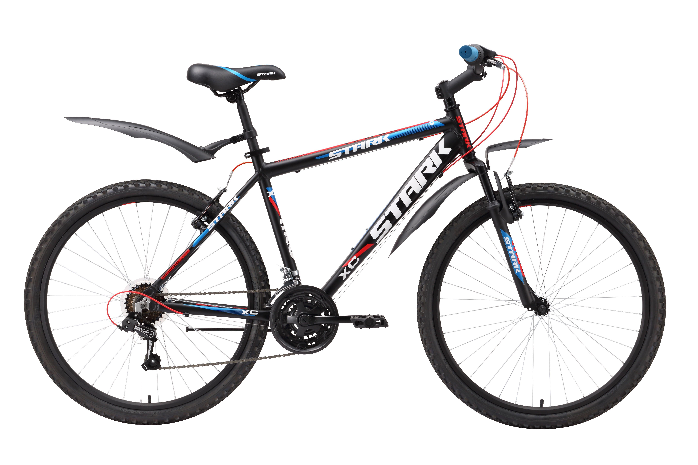 Велосипед Stark Tank (2016) черно-синий 18КОЛЕСА 26 (СТАНДАРТ)<br>Горный велосипед Stark Tank относится к линейке недорогих велосипедов для велопрогулок на природе. Главной особенностью этого велосипеда является лёгкая алюминиевая рама, с усиленной нижней трубой. Stark Tank имеет 18 передач, которые велосипедист выбирает вращением вокруг руля шифтеров SHIMANO SL-RS35. Велосипед оборудован ободными тормозами V-brake, а так же колёсами с двойными алюминиевыми ободами. Передняя мягкая вилка смягчает удары идущие от неровностей дорожного покрытия и делает велопрогулки более комфортными. Обращаем ваше внимание на удобное седло, широкие педали и, неизменное предложение от фирмы STARK - крылья в базовой комплектации.<br><br>бренд: STARK<br>год: 2016<br>рама: Алюминий (Alloy)<br>вилка: Амортизационная (пружина)<br>блокировка амортизатора: Нет<br>диаметр колес: 26<br>тормоза: Ободные (V-brake)<br>уровень оборудования: Начальный<br>количество скоростей: 18<br>Цвет: черно-синий<br>Размер: 18