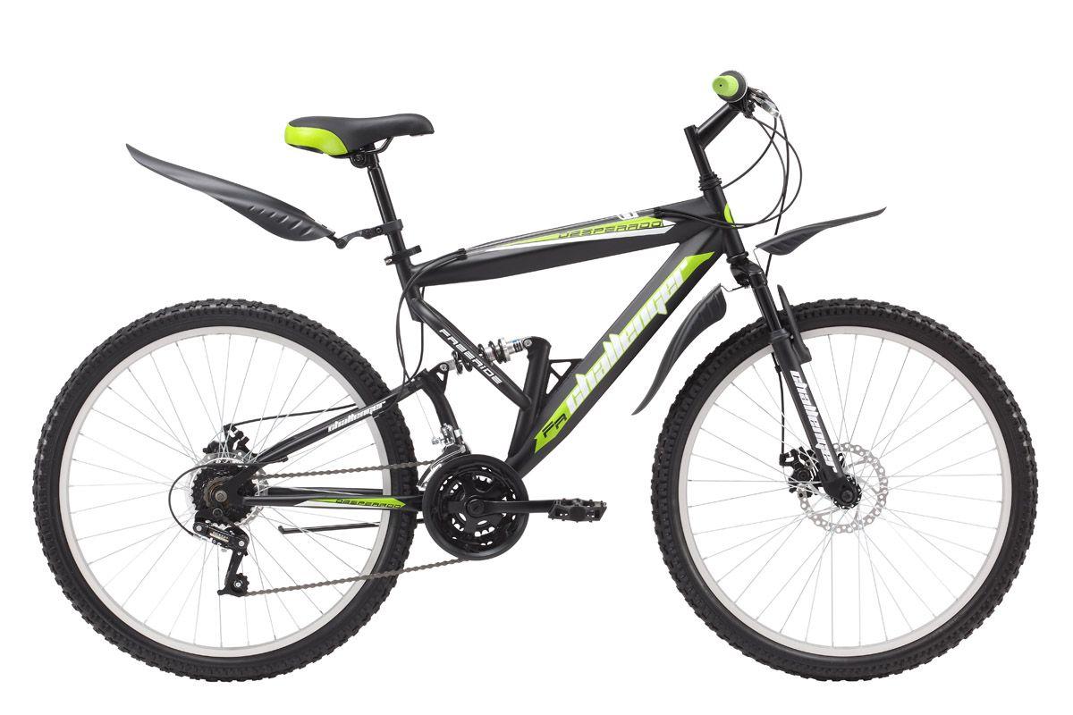 Велосипед Challenger Desperado (2016) черно-зеленый 20КОЛЕСА 26 (СТАНДАРТ)<br>Горный двухподвес Challenger Desperado предназначен для комфортного прогулочного катания. Задний амортизатор установлен здесь не для экстремальной езды, а для большего комфорта. Велосипед собран на крепкой стальной раме. Колёса имеют усиленные алюминиевые обода, которые хорошо выдерживают ударные нагрузки и устойчивы к деформации. 18-ти скоростная трансмиссия велосипеда выполняет чёткие переключения и помогает выбрать необходимый скоростной режим. Механический дисковый тормоз уверенно останавливает велосипед на хорошей дороге и на бездорожье. Двухподвес Challenger Desperado оборудован надёжными быстросъёмными крыльями и подножкой.<br><br>бренд: CHALLENGER<br>год: 2016<br>рама: Сталь (Hi-Ten)<br>вилка: Амортизационная (пружина)<br>блокировка амортизатора: Нет<br>диаметр колес: 26<br>тормоза: Дисковые механические<br>уровень оборудования: Начальный<br>количество скоростей: 18<br>Цвет: черно-зеленый<br>Размер: 20