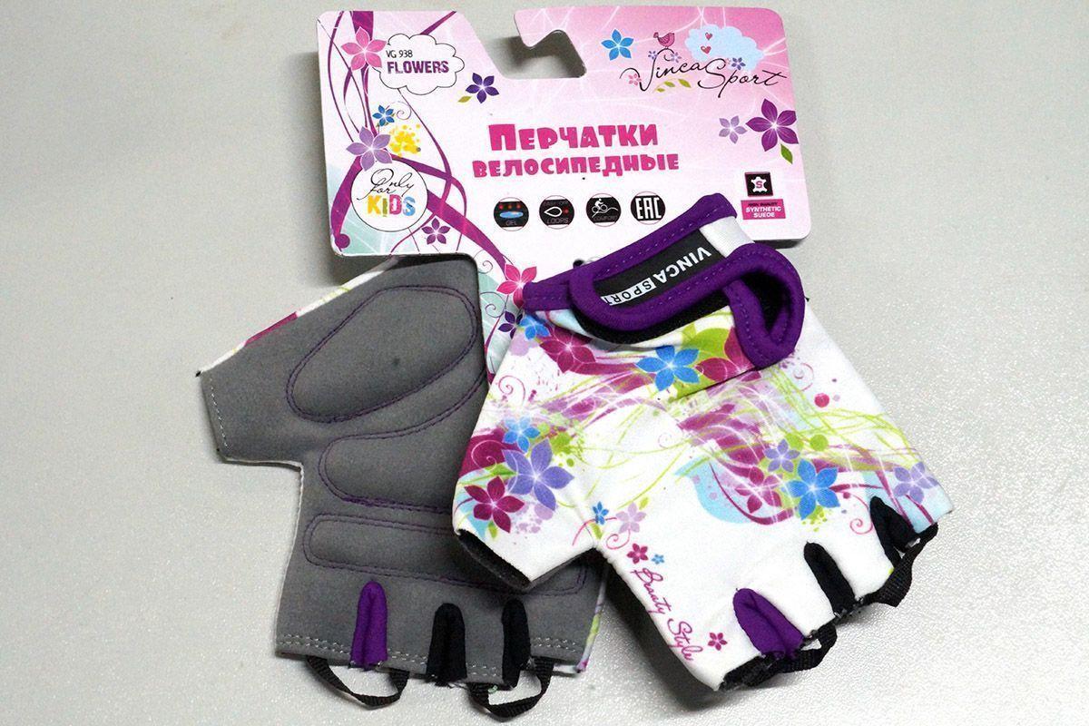 Велоперчатки детские FLOWERS Vinca Sport белый 5XXXS