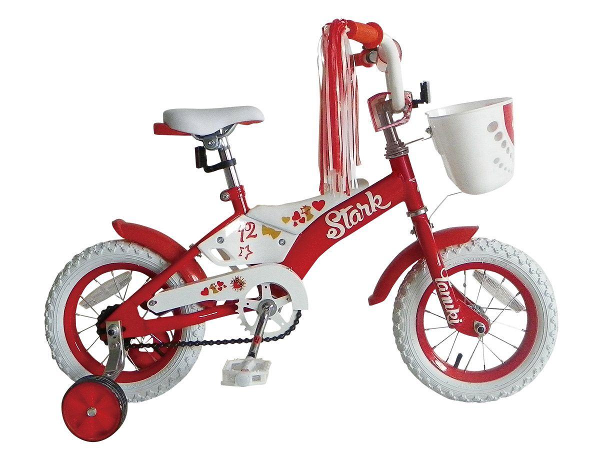 Велосипед Stark Tanuki Girl 12 (2015) оранжевый one sizeОТ 1 ДО 3 ЛЕТ (12-14 ДЮЙМОВ)<br>Детский велосипед для девочек Stark Tanuki Girl 12 условно рассчитан на возраст ребёнка от 1,5 до 3 лет или на рост 82-96см. Велосипед укомплектован корзинкой и задними боковыми колёсами, для поддержания равновесия в период обучения ребёнка катанию. Производитель продумал вопросы безопасности детского велосипеда и защитил верхнюю трубу стальной рамы мягкой накладкой, которая гарантированно защитит вашего ребёнка от случайных ударов об раму велосипеда.<br><br>бренд: STARK<br>год: 2015<br>рама: Сталь (Hi-Ten)<br>вилка: Жесткая (сталь)<br>блокировка амортизатора: None<br>диаметр колес: 12<br>тормоза: Ножной ( Coaster brake)<br>уровень оборудования: Начальный<br>количество скоростей: 1<br>Цвет: оранжевый<br>Размер: one size