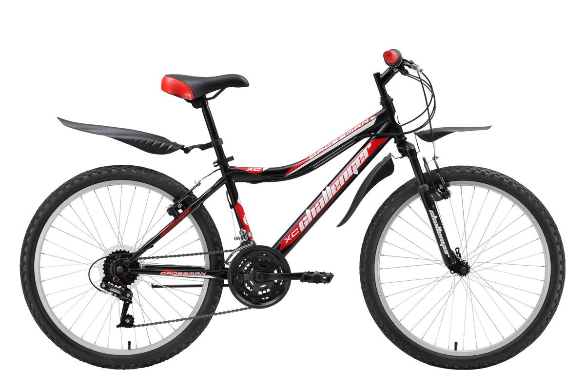 Велосипед Challenger Crossman (2016) черно-красный 13ОТ 9 ДО 13 ЛЕТ (24-26 ДЮЙМОВ)<br>Горный велосипед для подростков Challenger Crossman подходит для велопрогулок на природе и в городе. Основа велосипеда  стальная рама. Передняя подвеска оборудована амортизационной вилкой, которая смягчает удары от дороги и, тем самым снимает с рук часть нагрузки. Алюминиевые обода, на которых собраны 24-дюймовые колёса, устойчивы к ударам и хорошо держат круглую форму. Трансмиссия подросткового велосипеда имеет 18 передач и управляется переключателями Power. Тормозная система оборудована ободными тормозами типа V-brake. Для комфортного использования, подростковый велосипед Challenger Crossman укомплектован подножкой и надёжными крыльями.<br><br>бренд: CHALLENGER<br>год: 2016<br>рама: Сталь (Hi-Ten)<br>вилка: Амортизационная (пружина)<br>блокировка амортизатора: None<br>диаметр колес: 24<br>тормоза: Ободные (V-brake)<br>уровень оборудования: Начальный<br>количество скоростей: 18<br>Цвет: черно-красный<br>Размер: 13