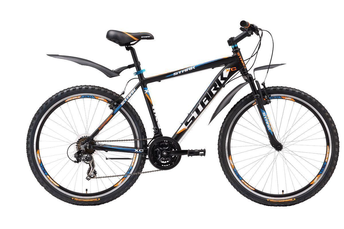 Велосипед Stark Hunter (2016) черно-оранжевый 20КОЛЕСА 26 (СТАНДАРТ)<br>Stark Hunter расширил линейку горных велосипедов для прогулочного катания. Новый велосипед получил крепкую раму, изготовленную с применением технологии гидроформинга. Это недорогой горный велосипед на алюминиевой раме, оборудованный переключателями передач, шифтерами и кассетой фирмы Shimano. 21-скоростная трансмиссия сообщает велосипеду необходимое ускорение, а торможение выполняется ободными тормозами V-brake. Колёса успешно сохраняют свою геометрию на плохих дорогах благодаря двойным ободам. В базовой комплектации, Stark Hunter оснащён быстросъёмными крыльями и подножкой.<br><br>бренд: STARK<br>год: 2016<br>рама: Алюминий (Alloy)<br>вилка: Амортизационная (пружина)<br>блокировка амортизатора: Нет<br>диаметр колес: 26<br>тормоза: Ободные (V-brake)<br>уровень оборудования: Начальный<br>количество скоростей: 21<br>Цвет: черно-оранжевый<br>Размер: 20