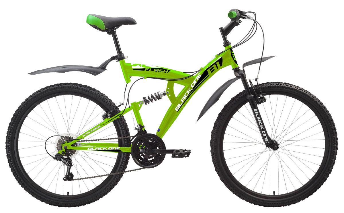 Велосипед Black One Flash (2016) черно-красный 20КОЛЕСА 26 (СТАНДАРТ)<br>Популярный недорогой двухподвес Black One Flash на стальной раме отлично послужит Вам для покатушек на природе. Передняя и задняя подвеска отрабатывают неровности дороги и делают велопрогулки комфортными. Велосипед Black One Flash оборудован надёжными ободными тормозами. Для эксплуатации в условиях бездорожья, по грязи и снегу рекомендуется использовать вариант велосипеда с дисковым тормозом - Black One Flash Disc. Двухподвес имеет 18 передач, выбор которых, легко выполняется переключателями Shimano Revo Shift. Быстросъёмные пластиковые крылья надёжно защищают велосипедиста от случайных брызг.<br><br>бренд: BLACK ONE<br>год: 2016<br>рама: Сталь (Hi-Ten)<br>вилка: Амортизационная (пружина)<br>блокировка амортизатора: Нет<br>диаметр колес: 26<br>тормоза: Ободные (V-brake)<br>уровень оборудования: Начальный<br>количество скоростей: 18<br>Цвет: черно-красный<br>Размер: 20