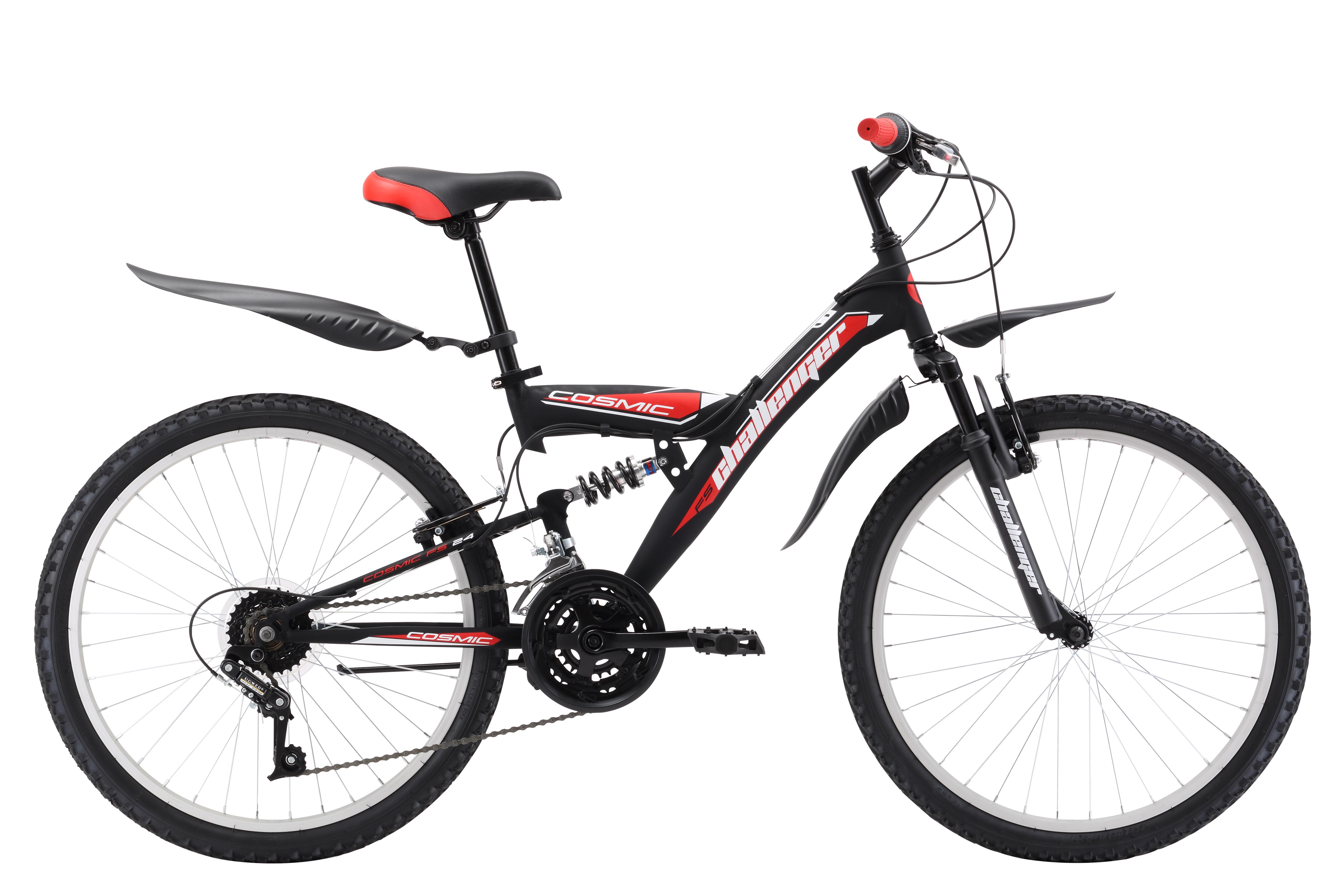 Велосипед Challenger Cosmic FS 24 (2017) сине-оранжевый 13ОТ 9 ДО 13 ЛЕТ (24-26 ДЮЙМОВ)<br>Подростковый двухподвес Challenger Cosmic FS 24, на стальной раме, предназначен для активных велопрогулок на свежем воздухе. Размер велосипеда подходит юношам, имеющим рост 127-155 см. Эффективному торможению способствуют ободные тормоза типа V-brake. Колёса диаметром 24 дюйма, на усиленных ободах, устойчивы к деформациям и quot;восьмёркамquot;. Велосипед оборудован трансмиссией на 18 скоростей. В комплекте с велосипедом Cosmic FS 24 вы найдёте крылья и подножку.<br><br>бренд: CHALLENGER<br>год: 2018<br>рама: Сталь (Hi-Ten)<br>вилка: Амортизационная (пружина)<br>блокировка амортизатора: None<br>диаметр колес: 24<br>тормоза: Дисковые механические<br>уровень оборудования: Начальный<br>количество скоростей: 18<br>Цвет: сине-оранжевый<br>Размер: 13