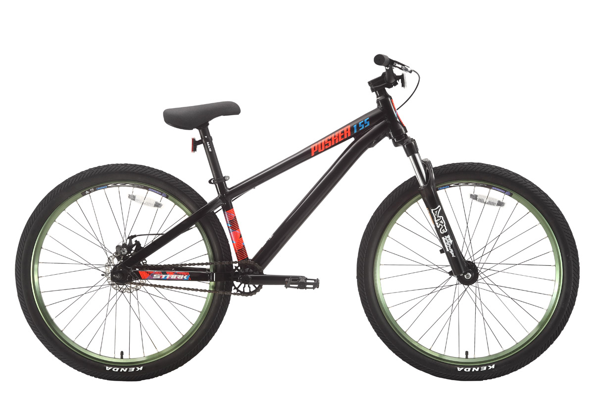 Велосипед Stark Pusher 1 SS (2018) чёрный/оранжевый/голубой 12,2СТРИТ / ДЕРТ<br>Экстремальный велосипед Stark Pusher 1 SS #40;2018#41; - создан для новичков в дисциплинах стрит и дёрт джампинг. Простое и надёжное оборудование любительского уровня позволит приобщиться к экстремальному катанию и отработать выполнение простейших трюков. Крепкая, проверенная временем, алюминиевая рама велосипеда оборудована пружинно-эластомерной амортизационной вилкой RST Dirt T, с ходом амортизатора 80мм. Задняя вилка с короткими перьями, делает велосипед более компактным, что облегчает выполнение трюков. Колёса, диаметром 26 дюймов, собраны на ободах Weinmann Disc Bull, их профиль хорошо держит продольные удары, а большая ширина обеспечивает устойчивость к скручиванию от боковых нагрузок. Переключатели передач, как и сами передачи на этих велосипедах не предусмотрены, т.к. велосипед имеет односкоростную трансмисссию. Эффективный механический дисковый тормоз Tektro помогает спортсмену-любителю уверенно управлять экстремальным байком.<br><br>бренд: STARK<br>год: 2018<br>рама: Алюминий (Alloy)<br>вилка: Амортизационная (пружина)<br>блокировка амортизатора: Нет<br>диаметр колес: 26<br>тормоза: Дисковые механические<br>уровень оборудования: Начальный<br>количество скоростей: 1<br>Цвет: чёрный/оранжевый/голубой<br>Размер: 12,2
