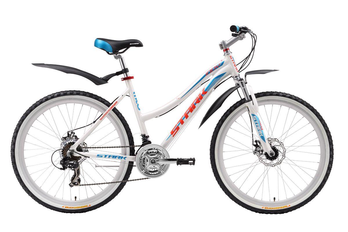 Велосипед Stark Indy lady Disc (2016) бело-голубой 14.5СПОРТИВНЫЕ<br>На затяжных спусках или на мокрой дороге, механический дисковый тормоз обеспечит эффективное торможение этому изящному велосипеду. Лёгкая алюминиевая рама и жёсткие, качественно собранные колёса, придают идеальный накат женскому горному велосипеду Stark Indy Lady Disc. Благодаря полуавтоматам Shimano ST-EF51 переключатели чутко реагируют на команду и быстро выбирают передачи, позволяя велосипедистке ехать в удобном скоростном режиме. Широкие покрышки с белыми бортами прекрасно подчёркивают общий дизайн велосипеда и обеспечивают хороший контакт с покрытием. На женском горном велосипеде Stark Indy Lady Disc вы будете чувствовать себя уверенно на любой дороге.<br><br>бренд: STARK<br>год: 2016<br>рама: Алюминий (Alloy)<br>вилка: Амортизационная (пружина)<br>блокировка амортизатора: Нет<br>диаметр колес: 26<br>тормоза: Дисковые механические<br>уровень оборудования: Начальный<br>количество скоростей: 21<br>Цвет: бело-голубой<br>Размер: 14.5