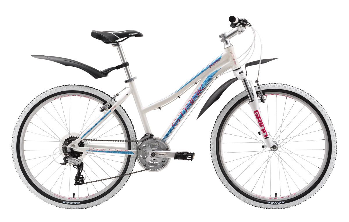 Велосипед Stark Router Lady (2016) бело-голубой 18СПОРТИВНЫЕ<br>Превосходный дизайн и оборудование, рассчитанное на хорошие туристические нагрузки, выделяют горный велосипед Stark Router Lady из общего ряда. Этот женский велосипед подойдёт не только для прогулок по парку, но и для настоящего бездорожья. Производитель позаботился о хорошей проходимости и надёжности велосипеда, оборудовав его передней амортизационной вилкой Spinner с ходом 80мм, а также собрав 24-х скоростную трансмиссию на оборудовании Shimano Acera с использованием жёсткой системы шатунов Suntour CW9. Выбор женского горного велосипеда Stark Router Lady приятно порадует требовательных велосипедисток. Модель 2016 года оборудована передним переключателем Shimano и более надёжной задней втулкой.<br><br>бренд: STARK<br>год: 2016<br>рама: Алюминий (Alloy)<br>вилка: Амортизационная (пружина)<br>блокировка амортизатора: Нет<br>диаметр колес: 26<br>тормоза: Ободные (V-brake)<br>уровень оборудования: Начальный<br>количество скоростей: 24<br>Цвет: бело-голубой<br>Размер: 18