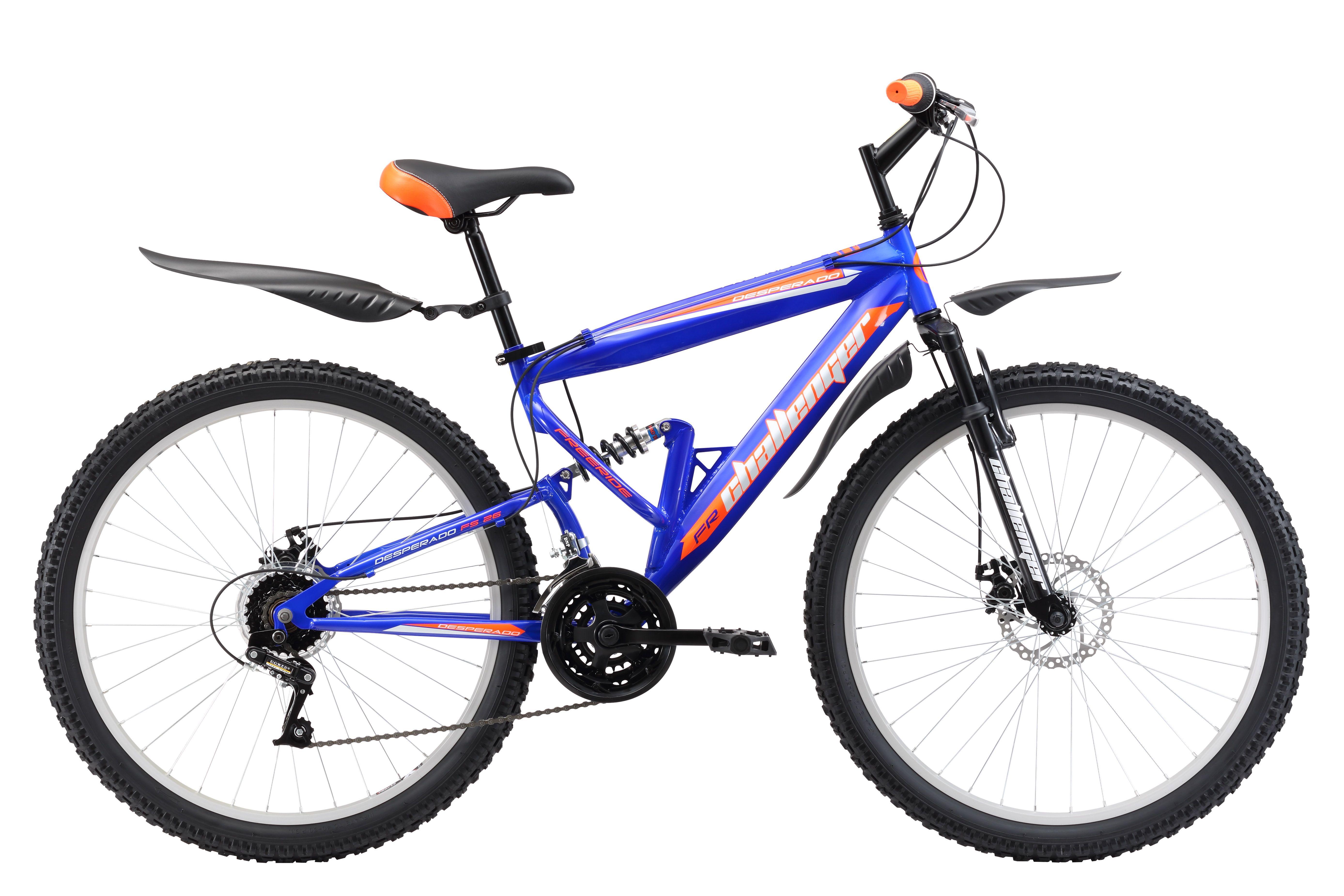 Велосипед Challenger Desperado FS 26 D (2017) сине-оранжевый 18КОЛЕСА 26 (СТАНДАРТ)<br>Горный двухподвес Challenger Desperado FS 26 D предназначен для прогулочного катания по различным типам дорог. Передняя и задняя подвеска гасят неровности дороги и делают велопрогулки максимально комфортными. Велосипед собран на крепкой стальной раме. Колёса, диаметром 26 дюймов, имеют усиленные алюминиевые обода, которые хорошо выдерживают ударные нагрузки и устойчивы к деформации. Трансмиссия велосипеда имеет 18 скоростей. Механический дисковый тормоз эффективен на любом дорожном покрытии. Двухподвес Challenger Desperado FS 26 D оборудован надёжными пластиковыми крыльями и подножкой.<br><br>бренд: CHALLENGER<br>год: 2017<br>рама: Сталь (Hi-Ten)<br>вилка: Амортизационная (пружина)<br>блокировка амортизатора: Нет<br>диаметр колес: 26<br>тормоза: Дисковые механические<br>уровень оборудования: Начальный<br>количество скоростей: 18<br>Цвет: сине-оранжевый<br>Размер: 18