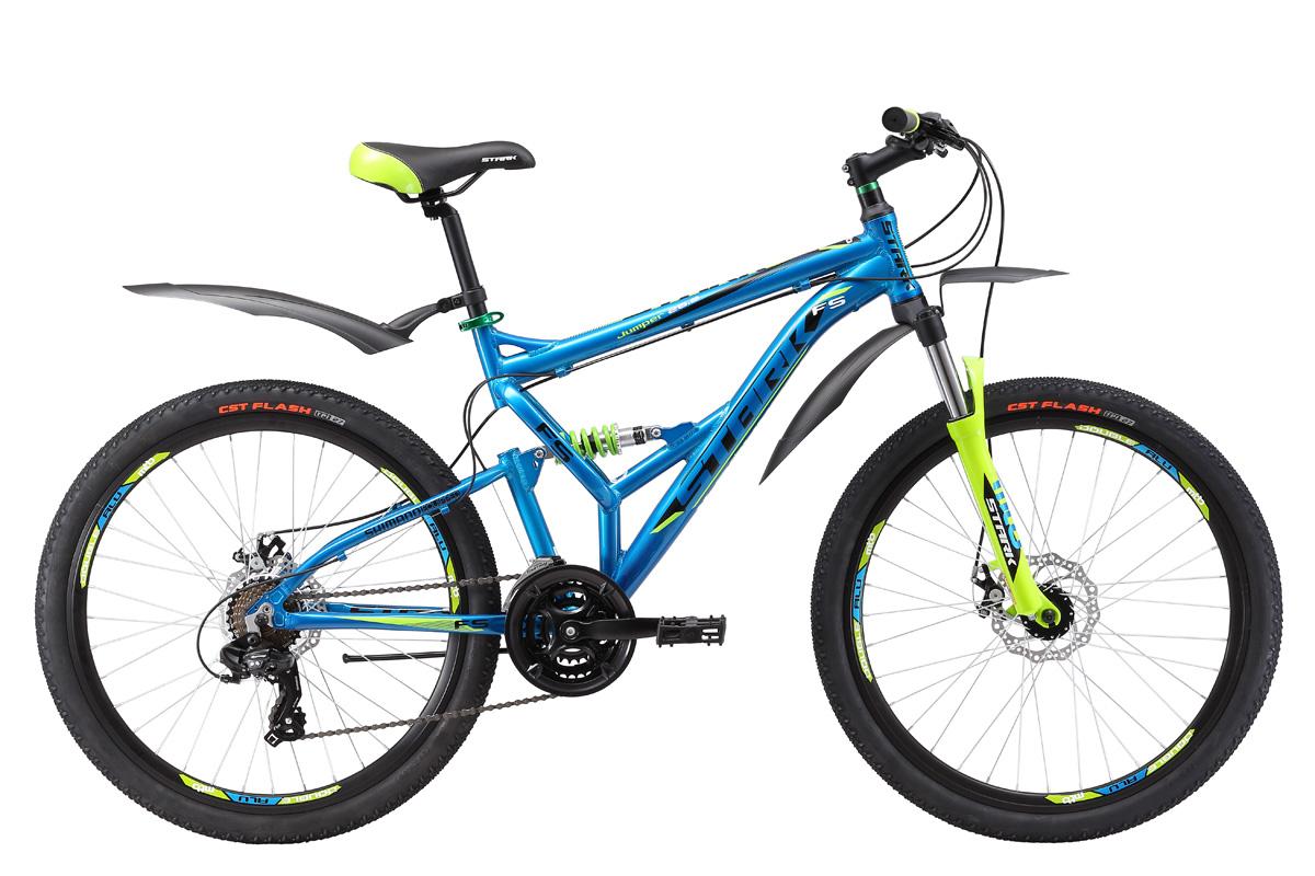 Велосипед Stark Jumper 26.2 FS D (2017) сине-зеленый 18КОЛЕСА 26 (СТАНДАРТ)<br>Ищите надёжный и недорогой двухподвес с гидравлическими тормозами? Тогда Stark Jumper это именно то, что вам нужно. Велосипед оснащён облегчённой алюминиевой рамой, дисковыми гидравлическими тормозами и оборудованием SHIMANO. Трансмиссия велосипеда имеет 21 передачу, что позволяет подбирать оптимальный скоростной режим. Велосипед обладает хорошими ходовыми качествами, удобной посадкой, мягким и плавным ходом. В модели 2017 года установлена новая алюминиевая вилка с блокировкой и preload, который поможет настроить жёсткость. Помимо этого производитель добавил литой вынос без сварки, а также кольцо под вынос 10мм, благодаря этому конструкция стала прочнее, а руль может устанавливаться выше. Stark Jumper 26.2 FS HD прекрасно подойдёт для езды по различным типам дорог и пересечённой местности.<br><br>бренд: STARK<br>год: 2017<br>рама: Алюминий (Alloy)<br>вилка: Амортизационная (пружина)<br>блокировка амортизатора: Нет<br>диаметр колес: 26<br>тормоза: Дисковые механические<br>уровень оборудования: Начальный<br>количество скоростей: 21<br>Цвет: сине-зеленый<br>Размер: 18