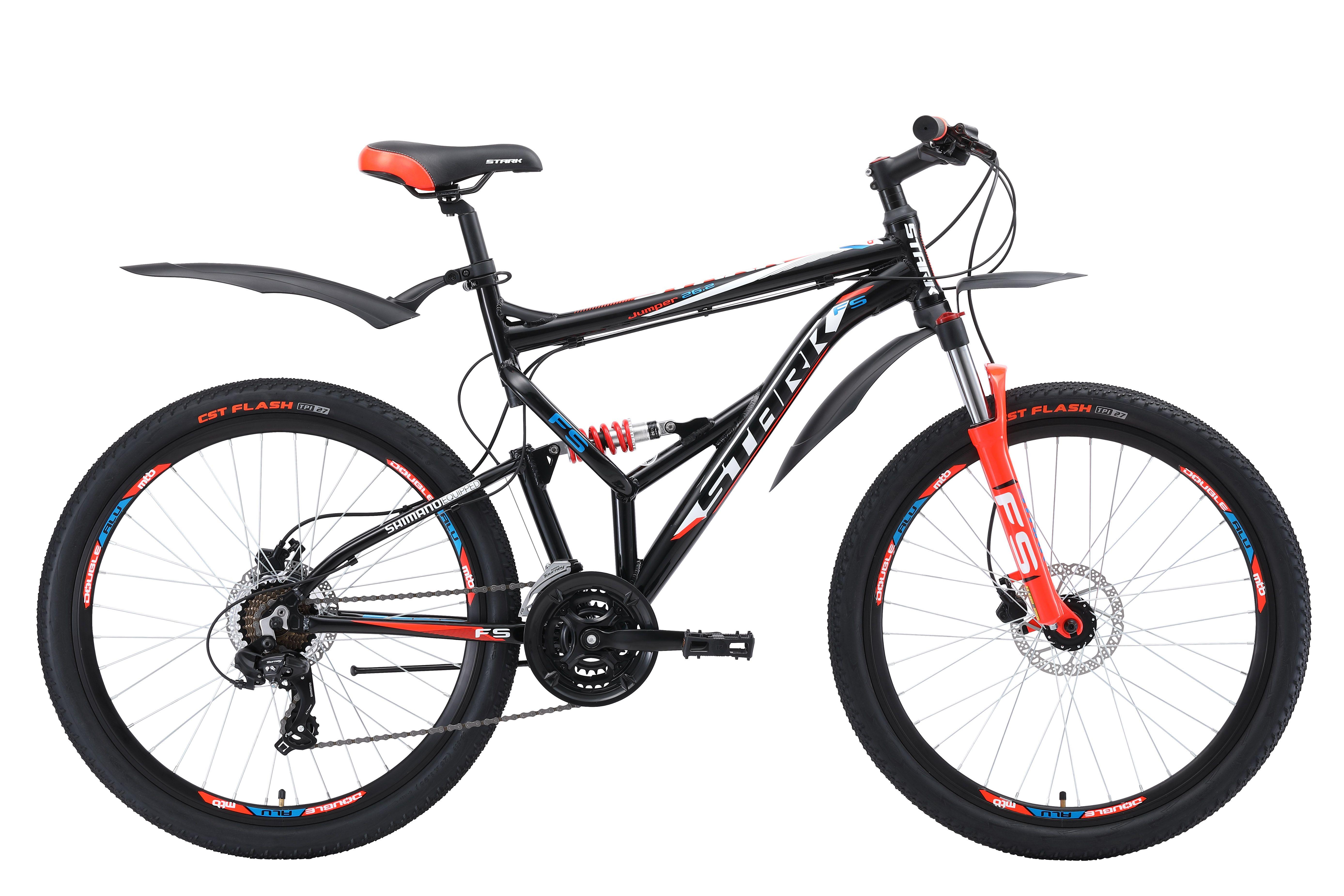 Велосипед Stark Jumper 26.2 FS HD (2018) чёрный/красный/синий 20КОЛЕСА 26 (СТАНДАРТ)<br>задними амортизаторами. Задняя подвеска позволяет кататься на велосипеде с большим комфортом, как по асфальту, так и по бездорожью. Велосипед собран на алюминиевой раме и оборудован гидравлическими дисковыми тормозами TEKTRO, с диаметром тормозных дисков 160мм. 21 передача позволяет велосипедисту подобрать оптимальный скоростной режим. Передняя мягкая вилка - пружинно-эластомерная - имеет блокировку и preload, блокировка будет удобна при подъеме в гору и разгоне, а preload поможет настроить жёсткость. Колёса, диаметром 26 дюймов имеют усиленные обода с двойной стенкой, которые делают колесо устойчивым к деформациям. Покрышки, шириной 1,95 дюйма уверенно держат велосипед на грунтовой дороге и твёрдом дорожном покрытии. Переключение передач выполняется с помощью оборудования Shimano, туристического уровня - Tourney. Для управления передачами, на руле установлены курковые переключатели. Велосипед Stark Jumper 26.2 FS НD #40;2018#41; оборудован удобным седлом. В базовой комплектации, установлены крылья и подножка.<br><br>бренд: STARK<br>год: 2018<br>рама: Алюминий (Alloy)<br>вилка: Амортизационная (пружина)<br>блокировка амортизатора: Нет<br>диаметр колес: 26<br>тормоза: Дисковые гидравлические<br>уровень оборудования: Начальный<br>количество скоростей: 21<br>Цвет: чёрный/красный/синий<br>Размер: 20