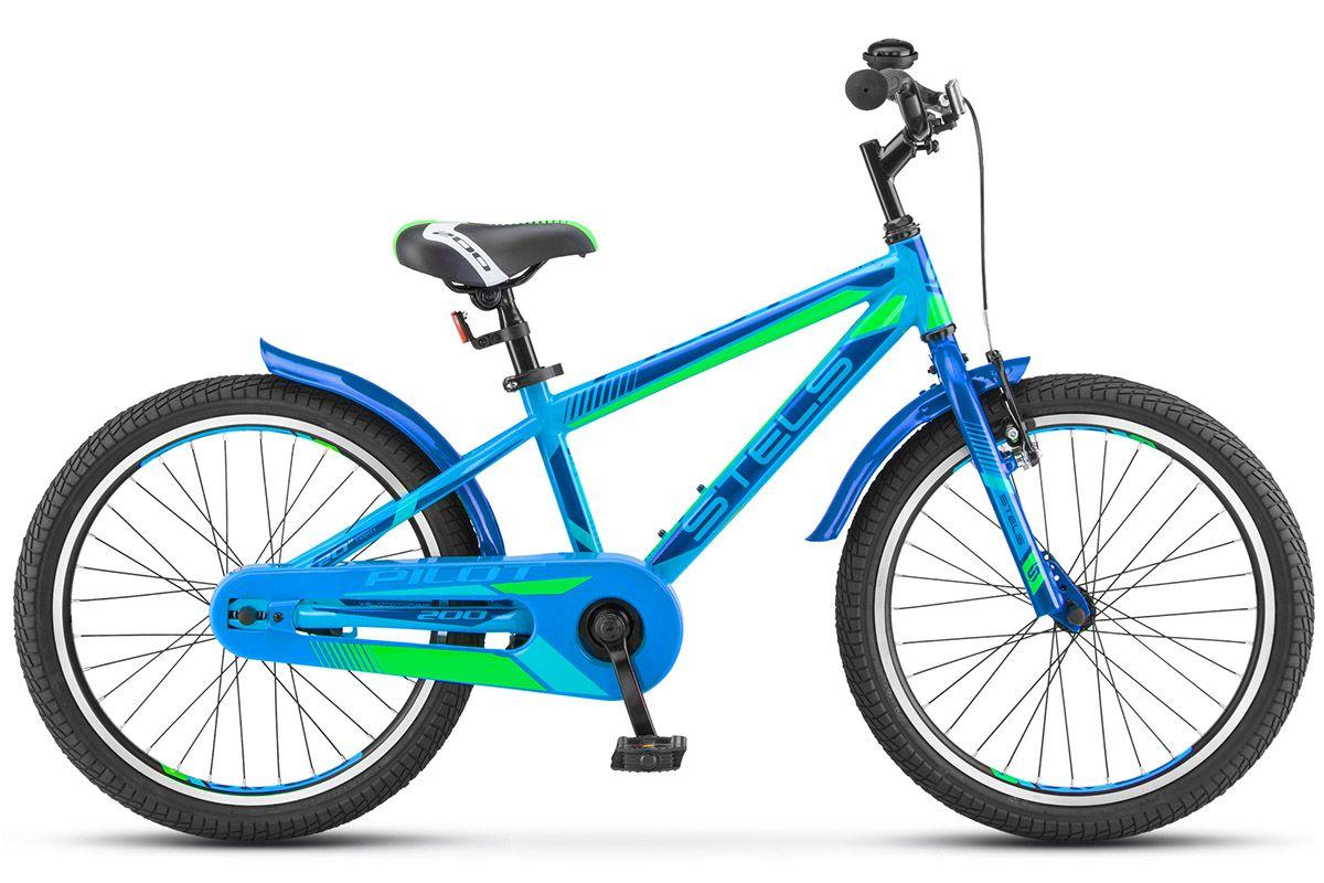 Велосипед Stels Pilot 200 Gent (2018) зеленый 11ОТ 6 ДО 9 ЛЕТ (20 ДЮЙМОВ)<br><br><br>бренд: STELS<br>год: 2018<br>рама: Сталь (Hi-Ten)<br>вилка: Жесткая (сталь)<br>блокировка амортизатора: Нет<br>диаметр колес: 20<br>тормоза: Ножной ( Coaster brake)<br>уровень оборудования: Начальный<br>количество скоростей: 1<br>Цвет: зеленый<br>Размер: 11