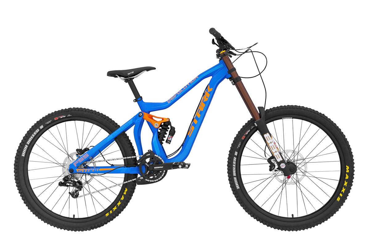 Велосипед Stark Devolution 650B (2015) синий 406 mmКОЛЕСА 27.5 (НОВЫЙ СТАНДАРТ)<br>Stark Devolution 650B  вот, поистине идеальный велосипед для даунхилла. Оригинальная геометрия рамы, это не столько дань дизайну, сколько удачные инженерные решения для уменьшения веса даунхильной рамы и увеличения её прочности, особенно это касается кареточного узла и места крепления заднего амортизатора ходом 200мм. Передняя подвеска оснащена профессиональной амортизационной вилкой Marzocchi 888 имеющей ход 200мм, стойками диаметром 38мм, регулировкой преднагрузки, компрессии и отскока. Превосходные качества передней и задней подвесок, в сочетании с характеристиками гоночной резины MAXXIS, позволяют 27,5-дюймовым колёсам легко преодолевать сложные даунхильные трассы, затрачивая ещё меньше энергии гонщика. 9-ти скоростная трансмиссия на профессиональном оборудовании SRAM X7 и мощный гидравлический тормоз Avid DB5, с роторами 200мм  не роскошь, а необходимость на даунхильном велосипеде такого уровня. При желании, эффективность переднего тормоза можно увеличить установкой ротора, до 230мм. На Stark Devolution 650B, вам под силу покорить самые интересные даунхильные трассы. Мы не предлагаем вам купить дёшево велосипед для даунхилла. Качественный велосипед для дх, не может стоить дёшево. Цена на настоящий велосипед для даунхилла не может быть низкой, она может быть честной.<br><br>бренд: STARK<br>год: 2015<br>рама: Алюминий (Alloy)<br>вилка: Амортизационная (масло)<br>блокировка амортизатора: Нет<br>диаметр колес: 27,5 (650B)<br>тормоза: Дисковые гидравлические<br>уровень оборудования: Профессиональный<br>количество скоростей: 9<br>Цвет: синий<br>Размер: 406 mm