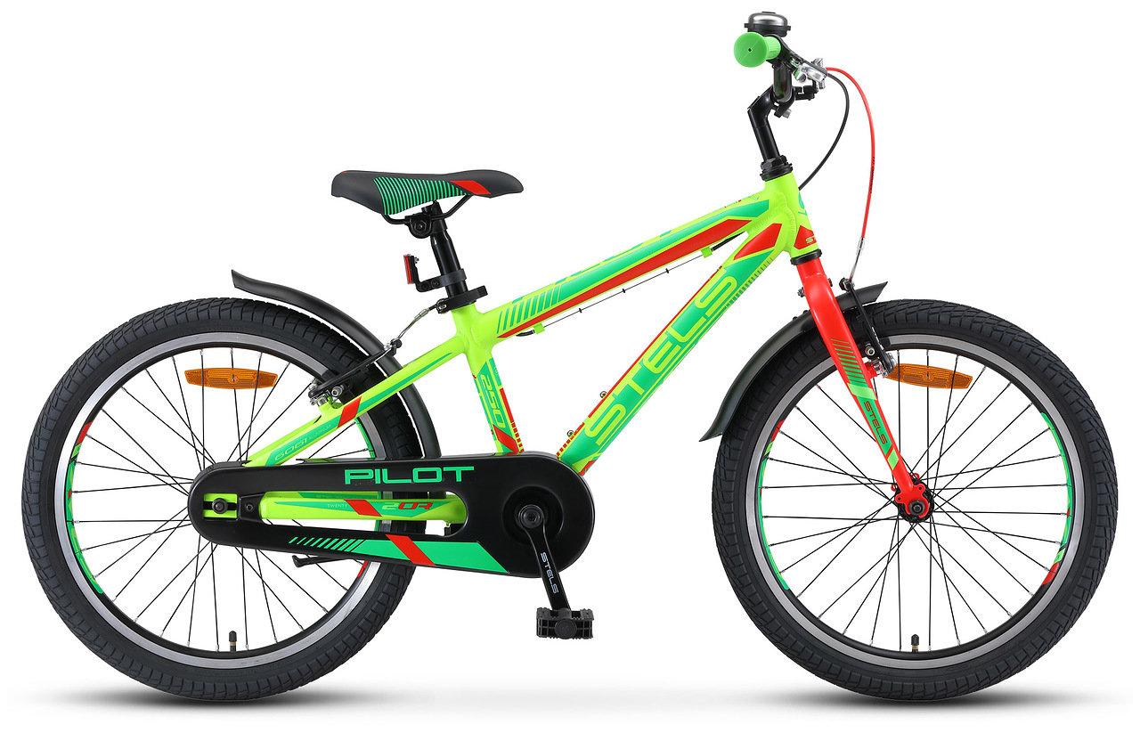 Велосипед Stels Pilot 250 Gent 20 V010 2019 неоновый-зелёный-неоновый-красный 11 д