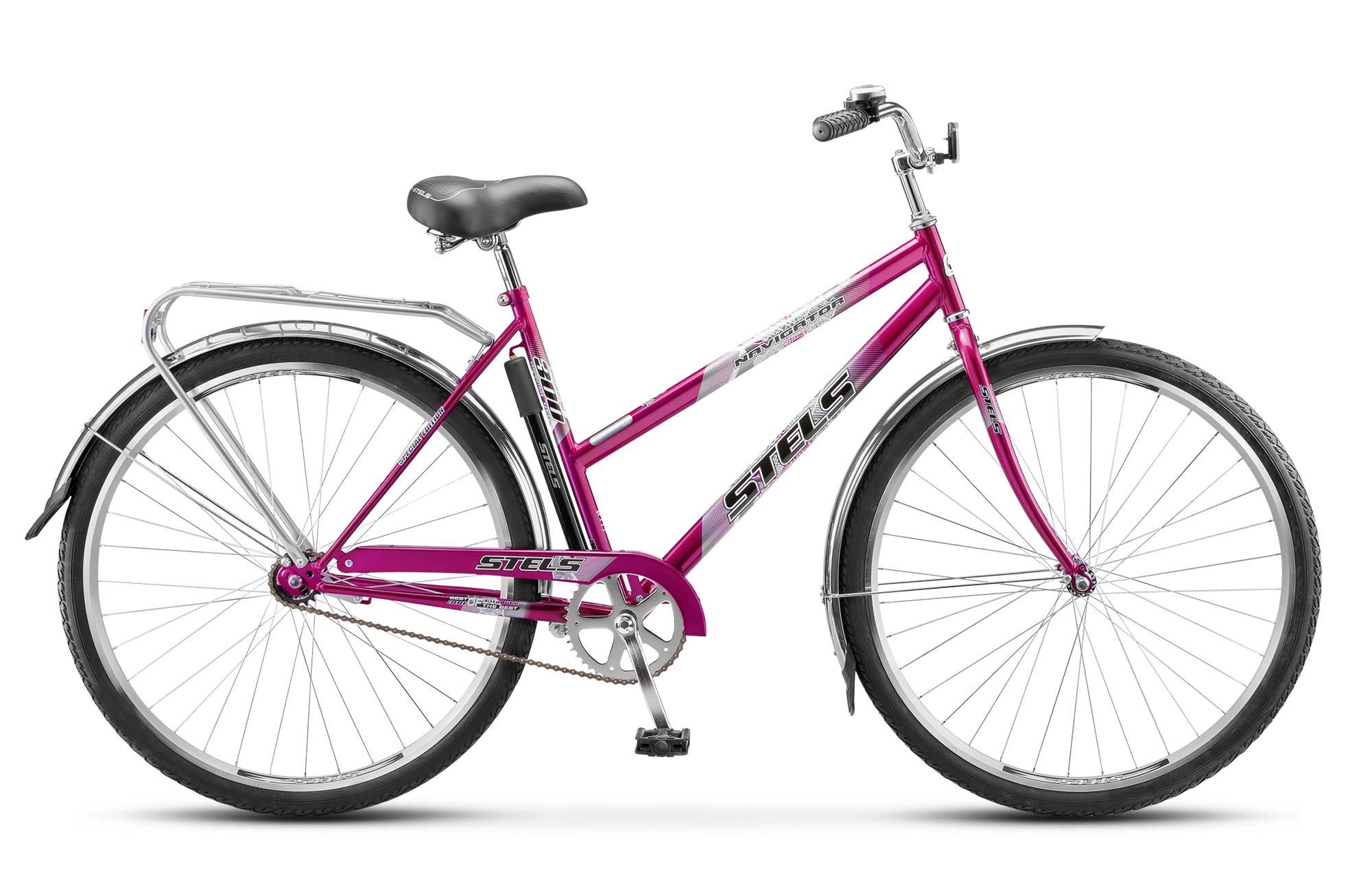 Велосипед Stels Navigator 300 Lady 28 (2017) фиолетовый 20КОМФОРТНАЯ ПОСАДКА<br><br><br>бренд: STELS<br>год: 2017<br>рама: Сталь (Hi-Ten)<br>вилка: Жесткая (сталь)<br>блокировка амортизатора: Нет<br>диаметр колес: 28<br>тормоза: Ножной ( Coaster brake)<br>уровень оборудования: Начальный<br>количество скоростей: 1<br>Цвет: фиолетовый<br>Размер: 20
