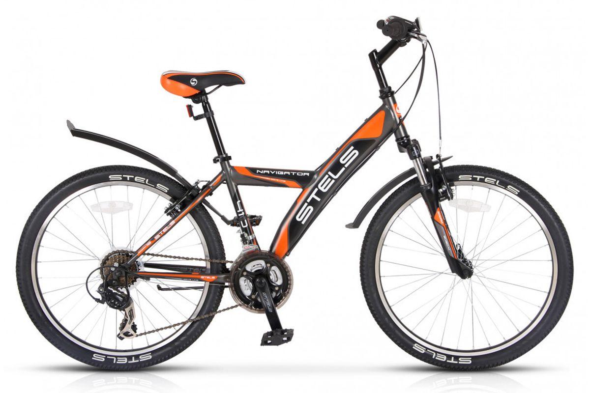 STELS Велосипед Stels Navigator 410 V 24 (2016) серый-оранжево-черный 15 велосипед stels navigator 530 v 2016