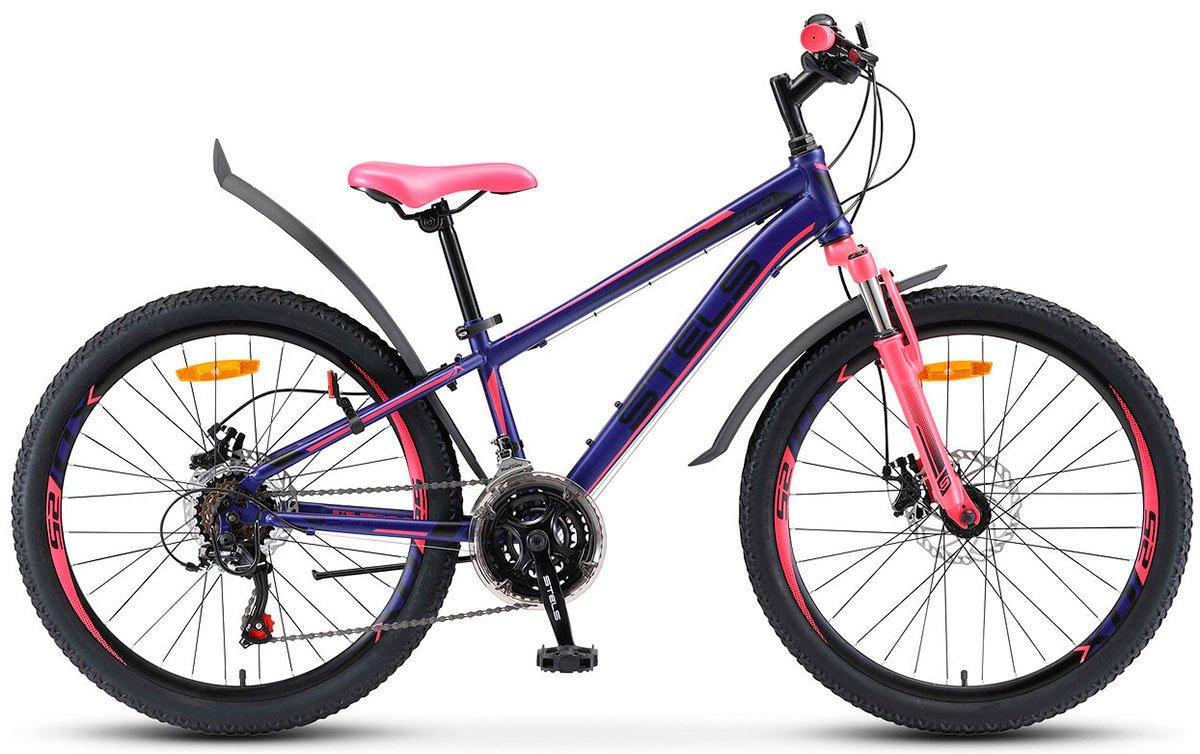 Велосипед Stels Navigator 400 MD 24 21-sp V010 2019 темно-сине-розовый 13 д