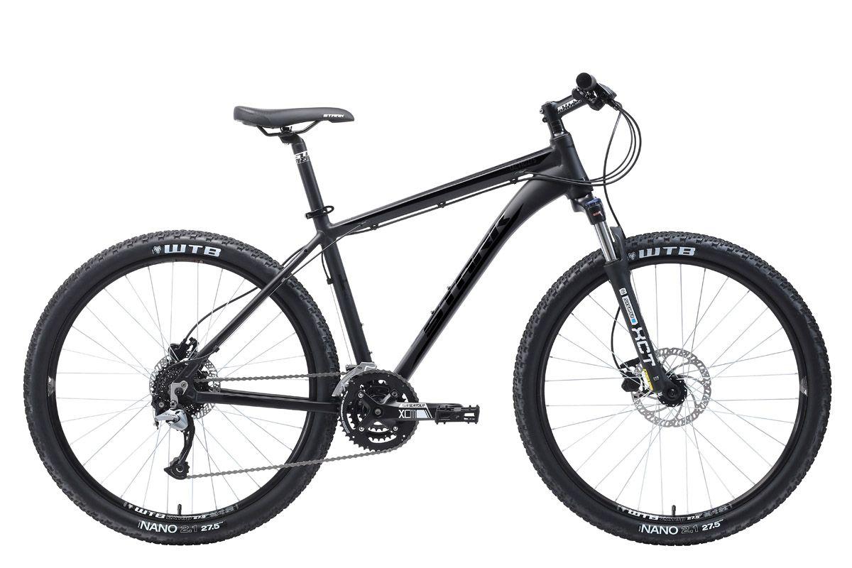 Велосипед Stark Tactic 27.5 HD (2018) чёрный матовый/чёрный глянцевый 18КОЛЕСА 27.5 (НОВЫЙ СТАНДАРТ)<br>Лёгкий и надежный велосипед Stark Tactic 27.5 HD, с диаметром колёс 27,5 дюймов, отлично подходит для любительского кросс-кантри и велотуризма. Рама велосипеда, изготовленная из алюминиевого сплава с применением технологии двойного баттинга, имеет полированные швы, и внутреннюю проводку тросов. Помимо этого рама имеет конический рулевой стакан, который обеспечивает дополнительную выносливость и способен выдерживать повышенные нагрузки. 27 передач позволяют велосипедисту поддерживать активный темп и уверенно чувствовать себя на трассах со сложным рельефом местности. Точное переключение передач с меньшей потерей энергии выполняется с помощью оборудования Shimano ACERA. Передняя мягкая вилка Suntour имеет ход 80мм и оборудована механическим локаутом - блокировка амортизатора. Дисковые гидравлические тормоза Tektro с диаметром переднего ротора 180мм способны остановить велосипед даже на сильном уклоне.<br><br>бренд: STARK<br>год: 2018<br>рама: Алюминий (Alloy)<br>вилка: Амортизационная (масло)<br>блокировка амортизатора: Да<br>диаметр колес: 27,5 (650B)<br>тормоза: Дисковые гидравлические<br>уровень оборудования: Продвинутый<br>количество скоростей: 27<br>Цвет: чёрный матовый/чёрный глянцевый<br>Размер: 18