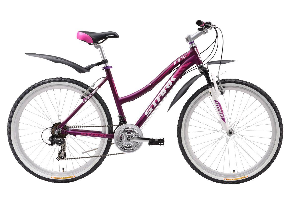 Велосипед Stark Indy Lady (2016) фиолетово-розовый 14.5СПОРТИВНЫЕ<br>Изящные обводы рамы, подчёркнутые изысканным дизайном выгодно выделяют женский горный велосипед Stark Indy Lady, среди конкурентов. Воскресные велопрогулки или повседневное катание на велосипеде доставят вам удовольствие благодаря, хорошо подобранному оборудованию и качественной сборке велосипеда. При длительных поездках, руки велосипедистки не будут быстро уставать, т.к. амортизационная вилка и удобные накладки на руле возьмут на себя часть нагрузки и поглотят вибрации. Удобное женское седло и широкие педали добавят комфорта, а крылья защитят от случайных брызг.<br><br>бренд: STARK<br>год: Всесезонный<br>рама: Алюминий (Alloy)<br>вилка: Амортизационная (пружина)<br>блокировка амортизатора: Нет<br>диаметр колес: 26<br>тормоза: Ободные (V-brake)<br>уровень оборудования: Начальный<br>количество скоростей: 21<br>Цвет: фиолетово-розовый<br>Размер: 14.5