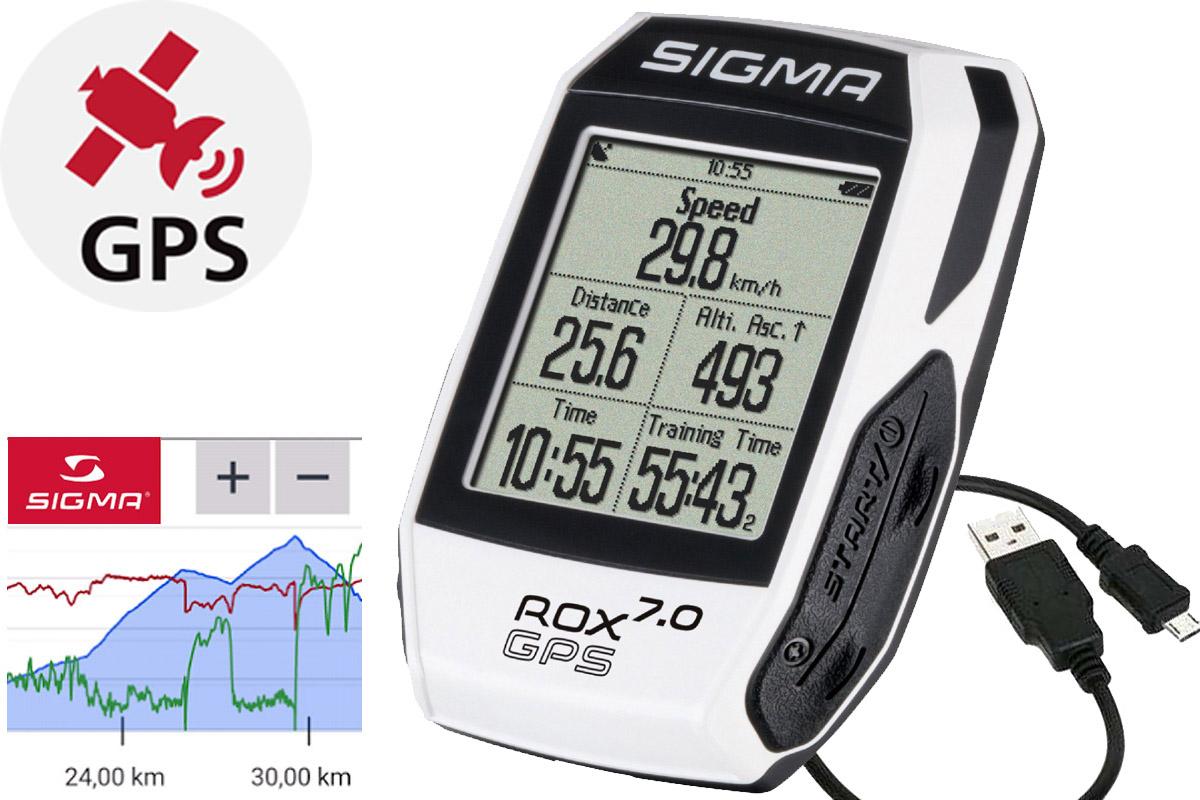 Велокомпьютер Sigma ROX GPS 7 белыйВЕЛОКОМПЬЮТЕРЫ<br>Беспроводной велокомпьютер Sigma ROX GPS 7, благодаря встроенному GPS обеспечивает навигацию по загруженному или сохраненному маршруту. Также можно создавать новые маршруты в центре обработки данных. Для быстрой загрузки тренировочных данных в центр обработки данных, а также для зарядки Sigma ROXGPS 7, используется порт микро-USB. С помощью DATA CENTER можно переписать на устройство сегменты Strava Live, это позволит наблюдать за самым быстрым результатом на маршруте и сравнивать его со своим собственным, во время тренировки в режиме реального времени. Для удобного следования по маршруту созданы навигационные функции: • время до пункта назначения • расстояние до пункта назначения • отклонение от маршрута - предупреждающий сигнал • путевые сигналы • просмотр маршрута • графическая карта • цифровой 3-мерный компас  Вы можете самостоятельно создать три тренировочных профиля: • дорожный велосипед • горный велосипед • другое  Дисплей с точечной матрицей позволяет гибко настраивать параметры отображения, имеет подсветку для темного время суток.  Данными тренировки можно делиться на разных платформах - Strava, Facebook,TrainingPeaks, 2Peak.  Функции: • навигация с помощью GPS • скорость • расстояние • температура • высота • частота вращения педалей (датчик докупается отдельно) • частота сердечных сокращений(датчик докупается отдельно) • индикация ETA (время /таймер /расстояние) • автоматический круг (по расстоянию, времени, калориям) • ручной круг • графический профиль высоты • подъем и скорость подъема • сегменты Strava Live • цифровой 3-мерный компас • барометрическое измерение высоты • спортивные профили • точки маршрута с авторским текстом • емкость журнала до 400 часов • графический анализ данных в DATA CENTER  Водонепроницаемое исполнение согласно стандарта IPx7.  На этой странице, вы можете скачать полную инструкцию для велокомпьютеров Sigma ROX GPS 7<br><br>бренд: SIGMA<br>год: Всесезонный<br>рама: None<br>вилка: