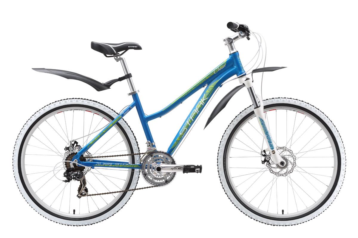Велосипед Stark Chaser Lady Disc (2016) сине-желтый 16СПОРТИВНЫЕ<br>Оборудовав женский велосипед Stark Chaser Lady механическим дисковым тормозом, фирма Stark вывела этот популярный горный велосипед на следующий уровень комфорта. Правильный подбор покрышек и передней вилки, в сочетании с работой дискового тормоза делают выбор этого, женского велосипеда очень удачным. Удобное седло, широкие педали и комфортный руль позволяют велосипедистке хорошо чувствовать велосипед и точно управлять им. 21-скоростная трансмиссия велосипеда, оснащённая переключателями фирмы Shimano, чутко реагирует на работу манеток Shimano ST-EF40 и быстро выбирает наиболее приемлемую передачу.<br><br>бренд: STARK<br>год: 2016<br>рама: Алюминий (Alloy)<br>вилка: Амортизационная (пружина)<br>блокировка амортизатора: Нет<br>диаметр колес: 26<br>тормоза: Дисковые механические<br>уровень оборудования: Начальный<br>количество скоростей: 21<br>Цвет: сине-желтый<br>Размер: 16