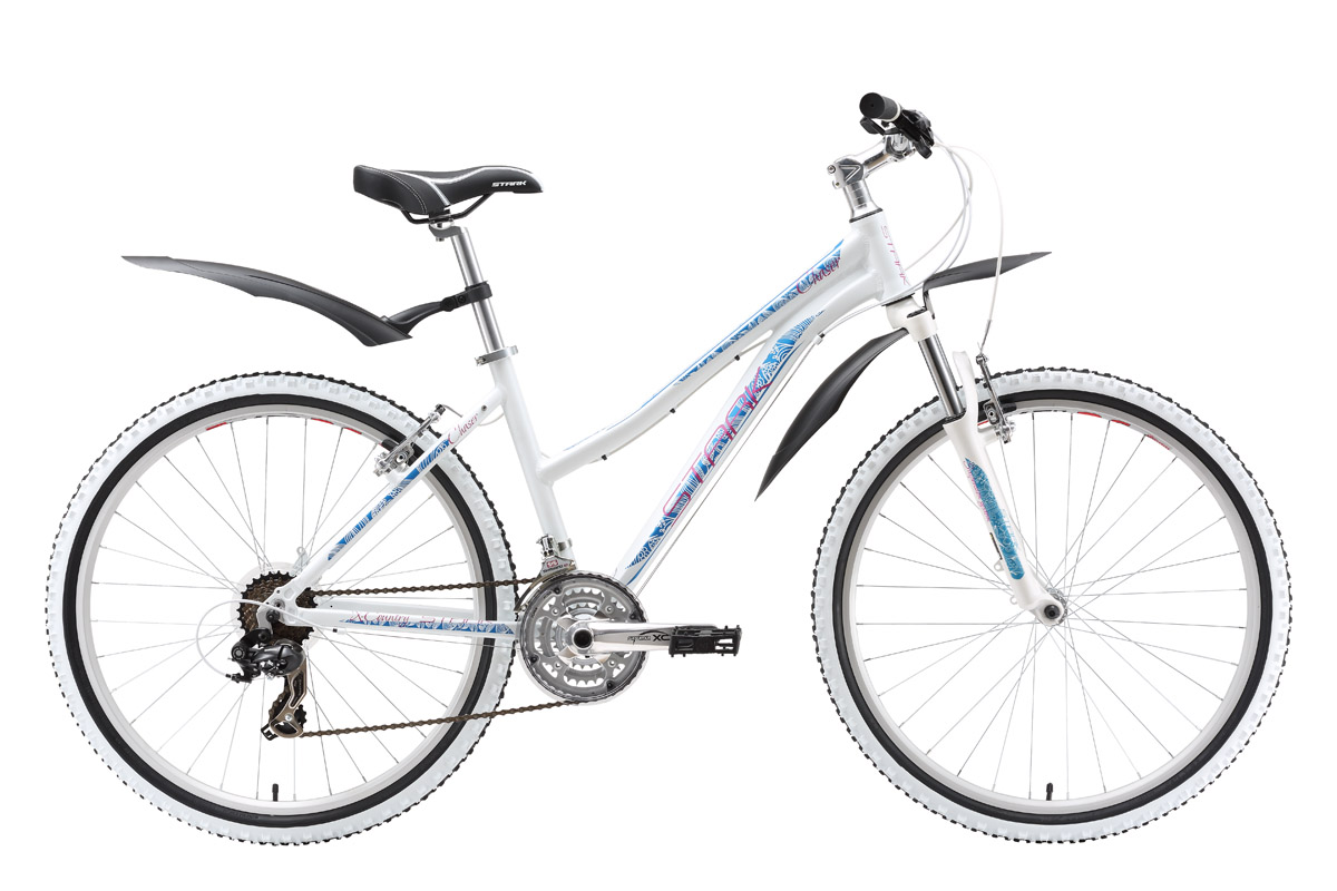 Велосипед Stark Chaser Lady (2016) серебристо-синий 16СПОРТИВНЫЕ<br>Как сделать любимой девушке хороший подарок? Конечно же, купить женский велосипед Stark Chaser Lady! Ведь вы сможете, вместе проводить больше времени и вас объединит общая любовь к велосипеду. Проверьте! Купите женский велосипед Stark Chaser Lady, испытайте его в деле и вы поймёте, что не ошиблись с выбором. Как не ошибся производитель, оснастив этот велосипед, с таким приятным дизайном, оборудованием от знаменитой фирмы Shimano. Данная модель имеет ободные тормоза простые в обслуживании и эффективные. Лёгкий накат и чёткая работа 21-скоростной трансмиссии, гарантируют вам благодарность за такой превосходный подарок.<br><br>бренд: STARK<br>год: 2016<br>рама: Алюминий (Alloy)<br>вилка: Амортизационная (пружина)<br>блокировка амортизатора: Нет<br>диаметр колес: 26<br>тормоза: Ободные (V-brake)<br>уровень оборудования: Начальный<br>количество скоростей: 21<br>Цвет: серебристо-синий<br>Размер: 16