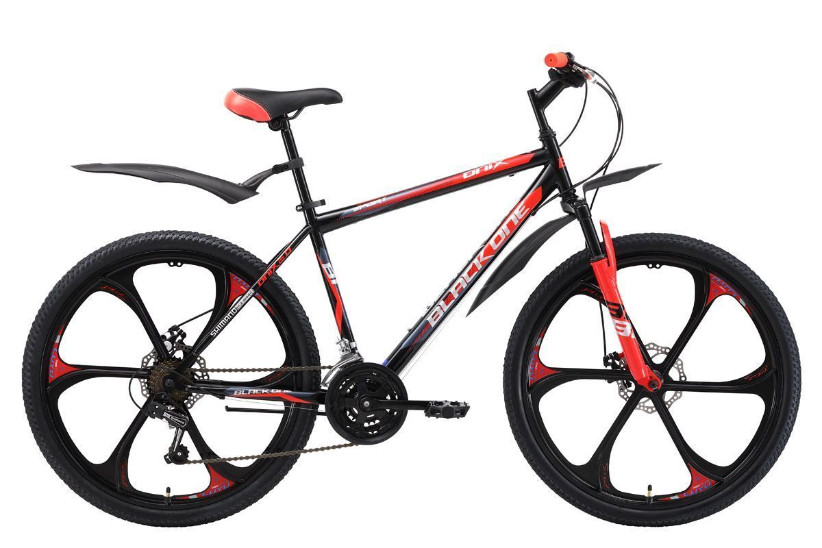 Велосипед Black One Onix 26 D forged wheels 2018 чёрный-красный-серый 16 д