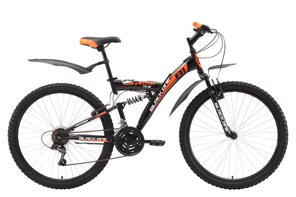 Велосипед Black One Flash FS 26 (2017) черно-оранжевый 18КОЛЕСА 26 (СТАНДАРТ)<br>Недорогой и комфортный двухподвес, отлично подходит тем, кто любит совершать прогулки на природе. Передняя и задняя подвеска хорошо гасит неровности дороги и делает велопрогулки комфортными. Необходимая скорость легко подбирается с помощью 21 скоростной трансмиссии и курковых переключателей. Велосипед оборудован надёжными ободными тормозами типа V-brake. Пластиковые крылья и подножка придают велосипеду наибольший комфорт. Для эксплуатации в условиях бездорожья, по грязи и снегу рекомендуется использовать вариант велосипеда с дисковым тормозом – Black One Flash FS 26 D.<br><br>бренд: BLACK ONE<br>год: 2017<br>рама: Сталь (Hi-Ten)<br>вилка: Амортизационная (пружина)<br>блокировка амортизатора: Нет<br>диаметр колес: 26<br>тормоза: Ободные (V-brake)<br>уровень оборудования: Начальный<br>количество скоростей: 18<br>Цвет: черно-оранжевый<br>Размер: 18