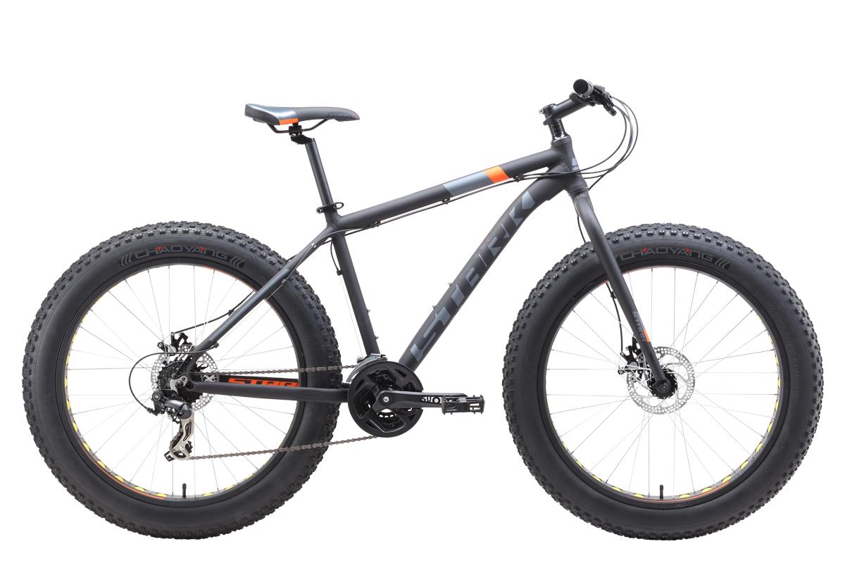 Велосипед Stark Fat 26.2 D 2019 чёрный-оранжевый-серый 18 д
