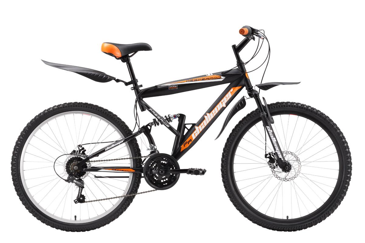 Велосипед Challenger Desperado Lux (2016) черно-зеленый 18КОЛЕСА 26 (СТАНДАРТ)<br>Для прогулочного катания и вылазок на природу подходит двухподвес Challenger Desperado Lux. Передняя и задняя подвески оборудованы пружинными амортизаторами, которые смягчают удары от дорожного покрытия. На велосипед установлены механические дисковые тормоза, которые хорошо служат на бездорожье. Трансмиссия велосипеда имеет 18 передач. Вращением, вокруг руля переключателей Revo Shift легко подбирается необходимая скорость. Комплектация подножкой и надёжными, пластиковыми крыльями делает велосипед двухподвес Challenger Desperado Lux комфортнее.<br><br>бренд: CHALLENGER<br>год: 2016<br>рама: Сталь (Hi-Ten)<br>вилка: Амортизационная (пружина)<br>блокировка амортизатора: Нет<br>диаметр колес: 26<br>тормоза: Дисковые механические<br>уровень оборудования: Начальный<br>количество скоростей: 18<br>Цвет: черно-зеленый<br>Размер: 18