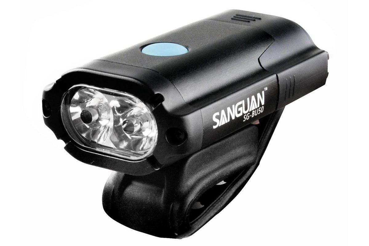 Фонарь передний SANGUAN SG-BU50 500lm чёрныйФОНАРИ<br>Велосипедный фонарь SANGUAN SG-BU50 создаёт световой поток 500лм. 2 светодиода хорошо освещают дорогу перед велосипедом на расстоянии до 30 метров, до 10 метров - яркое световое пятно, которое выделяется даже при свете уличного освещения. 4 режима работы, вес 86 грамм. Индикация разряда аккумулятора. Алюминиевый корпус. Влагоустойчивый. В комплекте поставки прилагается задний фонарь красного цвета #40;15лм#41; с тремя режимами свечения, а также USB-кабель, с помощью которого можно зарядить, от компьютера, оба фонаря. Время зарядки встроенного литиевого аккумулятора фонаря SG-BU50 #40;1100mAh#41; - 2 часа.<br><br>бренд: SANGUAN<br>год: Всесезонный<br>рама: None<br>вилка: None<br>блокировка амортизатора: None<br>диаметр колес: None<br>тормоза: None<br>уровень оборудования: None<br>количество скоростей: None<br>Цвет: чёрный<br>Размер: None
