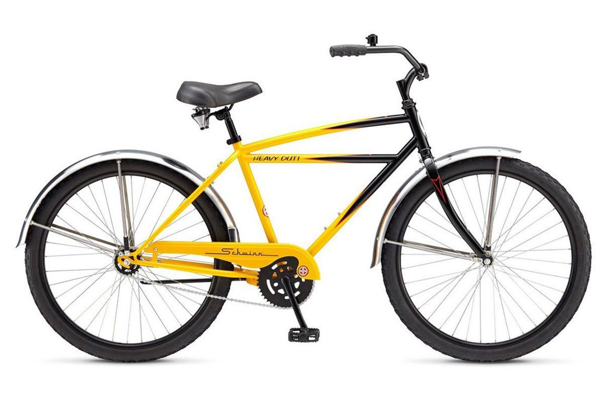 Велосипед Schwinn Heavy Duti (2017) желто-черный one sizeКРУИЗЕРЫ / РЕТРО<br><br><br>бренд: SCHWINN<br>год: 2017<br>рама: Сталь (Hi-Ten)<br>вилка: Жесткая (сталь)<br>блокировка амортизатора: Нет<br>диаметр колес: 26<br>тормоза: Ножной ( Coaster brake)<br>уровень оборудования: Начальный<br>количество скоростей: 1<br>Цвет: желто-черный<br>Размер: one size