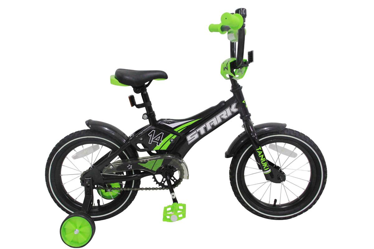 Велосипед Stark Tanuki 14 Boy ST (2017) черно-зеленый one sizeОТ 1 ДО 3 ЛЕТ (12-14 ДЮЙМОВ)<br><br><br>бренд: STARK<br>год: 2017<br>рама: Сталь (Hi-Ten)<br>вилка: Жесткая (сталь)<br>блокировка амортизатора: Нет<br>диаметр колес: 14<br>тормоза: Ножной ( Coaster brake)<br>уровень оборудования: Начальный<br>количество скоростей: 1<br>Цвет: черно-зеленый<br>Размер: one size