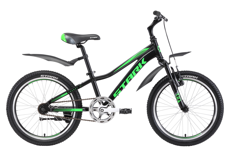 Велосипед Stark Rocket 20.1 S 2018 чёрный-зелёный-тёмно-серый one size