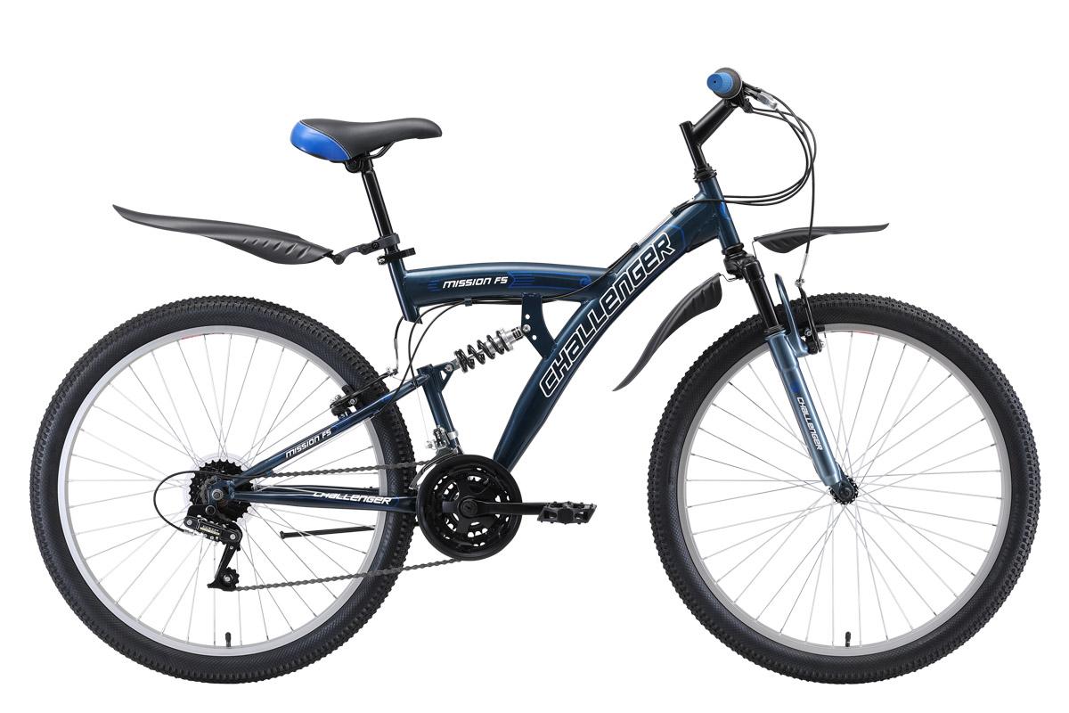 Велосипед Challenger Mission FS 26 2019 синий-белый-голубой 20 д