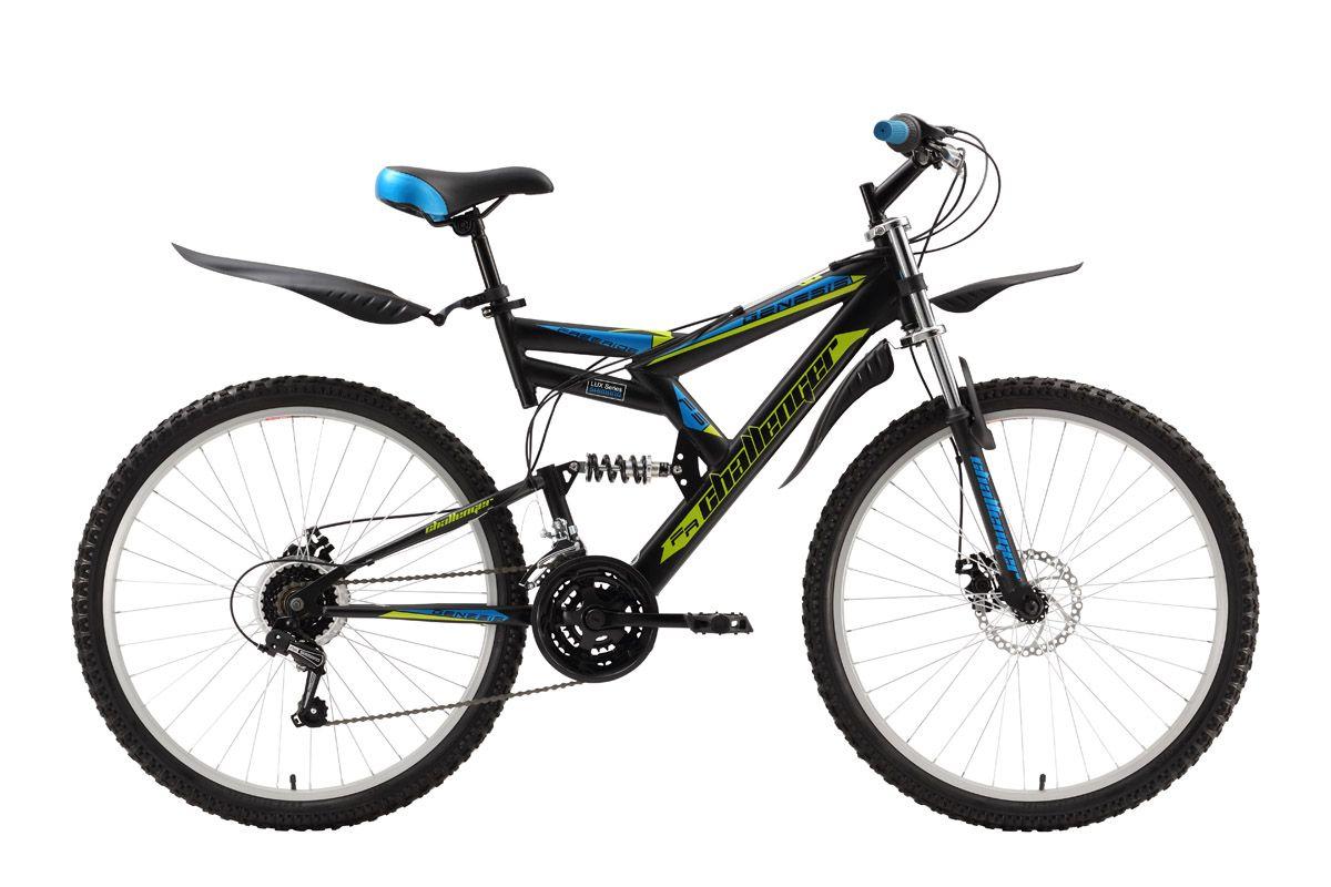 Велосипед Challenger Genesis Lux (2016) черно-красный 18КОЛЕСА 26 (СТАНДАРТ)<br>Двухподвес Challenger Genesis Lux отличает повышенная надёжность конструкции. Стальная рама усилена дополнительными элементами, имеет мощное крепление рулевого стакана. Передняя амортизационная вилка оборудована двумя коронами, что увеличивает её выносливость. Необходимо понимать, что велосипед не предназначен для экстремального катания. 18 передач и механические дисковые тормоза, в сочетании с работой обеих подвесок позволяют велосипедисту уверенно чувствовать себя на пересечённой местности. Велосипед укомплектован крепкими крыльями и подножкой. Двухподвес Challenger Genesis Lux  удачный выбор для велосипедных прогулок на природе.<br><br>бренд: CHALLENGER<br>год: 2016<br>рама: Сталь (Hi-Ten)<br>вилка: Амортизационная (пружина)<br>блокировка амортизатора: Нет<br>диаметр колес: 26<br>тормоза: Дисковые механические<br>уровень оборудования: Начальный<br>количество скоростей: 18<br>Цвет: черно-красный<br>Размер: 18