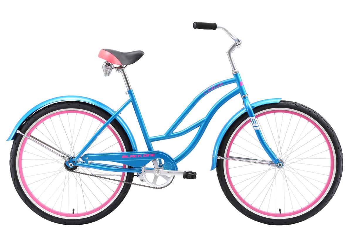 Велосипед Black One Flora 26 (2018) голубой/розовый/белый 18КРУИЗЕРЫ / РЕТРО<br><br><br>бренд: BLACK ONE<br>год: 2018<br>рама: Сталь (Hi-Ten)<br>вилка: Жесткая (сталь)<br>блокировка амортизатора: Нет<br>диаметр колес: 26<br>тормоза: Ножной ( Coaster brake)<br>уровень оборудования: Начальный<br>количество скоростей: 1<br>Цвет: голубой/розовый/белый<br>Размер: 18