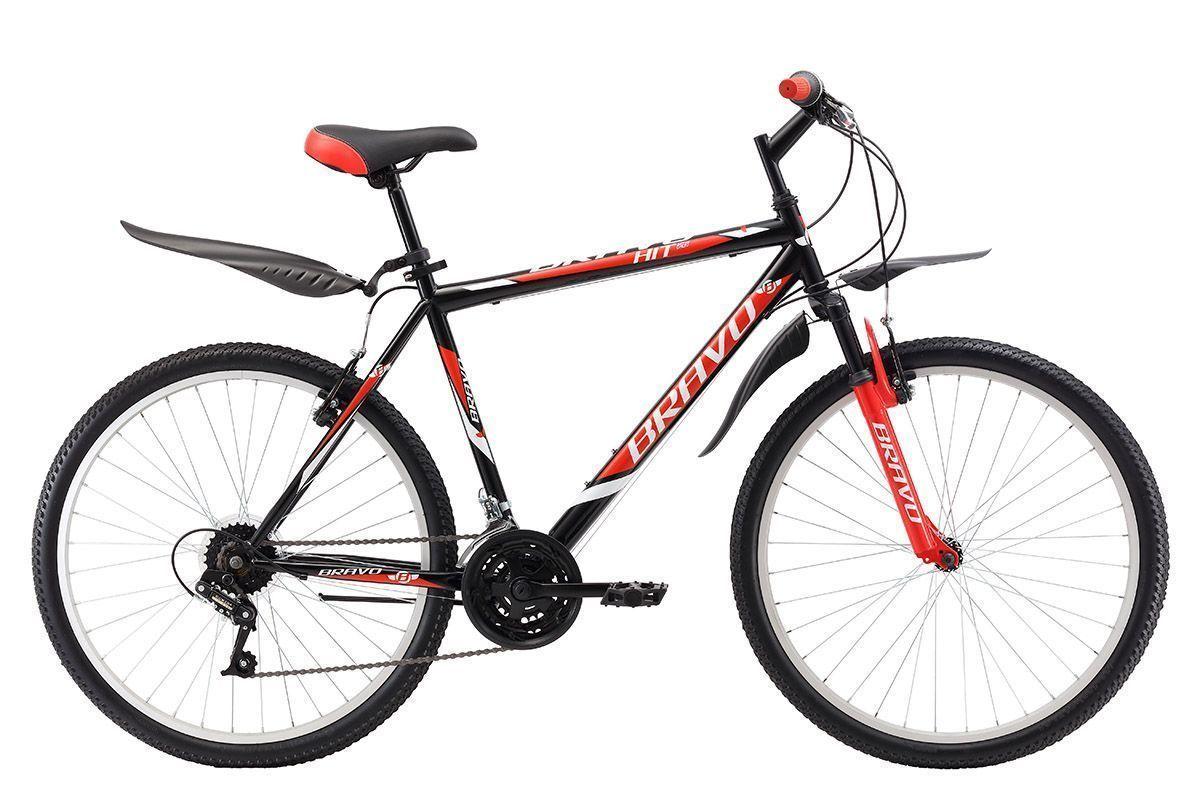Велосипед Bravo Hit 26 (2017) черно-красный 20КОЛЕСА 26 (СТАНДАРТ)<br>Bravo Hit 26 - недорогой горный велосипед на стальной раме, который отлично подходит для велопрогулок по городским и парковым дорогам. Амортизационная вилка передней подвески хорошо гасит неровности дороги, тем самым снимая нагрузку с рук. Велосипед оснащён надёжными ободными тормозами и 18 скоростной трансмиссией. Крепление переднего колеса с помощью эксцентрика позволяет с лёгкостью снимать его при погрузке велосипеда в автомобиль. Велосипед Bravo Hit 26 укомплектован пластиковыми крыльями и подножкой.<br><br>бренд: BRAVO<br>год: 2017<br>рама: Сталь (Hi-Ten)<br>вилка: Амортизационная (пружина)<br>блокировка амортизатора: Нет<br>диаметр колес: 26<br>тормоза: Ободные (V-brake)<br>уровень оборудования: Начальный<br>количество скоростей: 18<br>Цвет: черно-красный<br>Размер: 20
