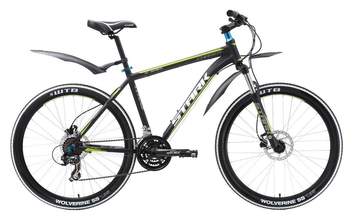Велосипед Stark Chaser HD (2016) черно-зеленый 18КОЛЕСА 26 (СТАНДАРТ)<br>Stark Chaser HD, это модификация популярного горного велосипеда Chaser оборудованная гидравлическими дисковыми тормозами Tektro HDC-300. В остальном комплектация этого велосипеда полностью совпадает с полюбившимся велосипедистам Stark Chaser. Горный велосипед оснащён интегрированной рулевой колонкой 1 1/8 и крепкими шатунами фирмы Suntour. Для переключения передач на руле используются полуавтоматы Shimano ST-EF51, что является более удобным по сравнению с системой RevoShift.Колёса, собранные на двойных алюминиевых ободах WEINMANN, выгодно выделят ваш велосипед в сочетании с покрышками Kenda. Stark Chaser Disc HD 2016 года незначительно отличается комплектацией от прошлогодней модели.<br><br>бренд: STARK<br>год: 2016<br>рама: Алюминий (Alloy)<br>вилка: Амортизационная (пружина)<br>блокировка амортизатора: Нет<br>диаметр колес: 26<br>тормоза: Дисковые гидравлические<br>уровень оборудования: Начальный<br>количество скоростей: 21<br>Цвет: черно-зеленый<br>Размер: 18