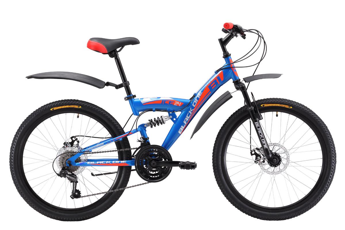 Велосипед Black One Ice FS 24 D (2017) сине-красный 13ОТ 9 ДО 13 ЛЕТ (24-26 ДЮЙМОВ)<br>Подростковый двухподвес, собранный на стальной раме, обладает всеми необходимыми характеристиками для катания по различным типам дорог. Эта модель предназначена для юношей ростом 127- 155 см. Передняя и задняя подвеска хорошо сглаживает неровности дороги и делает велопрогулки комфортными. На велосипед установлены механические дисковые тормоза, которые подходят для езды по бездорожью . Двухподвес имеет 21 передачу, выбор которых во время катания легко выполняется курковыми переключателями. Black One Ice FS 24 D оснащён колёсами с двойными алюминиевыми ободами диаметром 24 дюйма. В комплекте к велосипеду прилагается подножка и крылья, защищающие от грязи и брызг.<br><br>бренд: BLACK ONE<br>год: 2017<br>рама: Сталь (Hi-Ten)<br>вилка: Амортизационная (пружина)<br>блокировка амортизатора: Нет<br>диаметр колес: 24<br>тормоза: Дисковые механические<br>уровень оборудования: Начальный<br>количество скоростей: 21<br>Цвет: сине-красный<br>Размер: 13