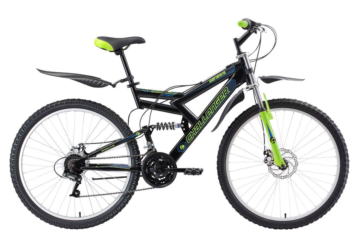 Велосипед Challenger Genesis FS 26 D 2018 чёрный-зелёный-голубой 20 д