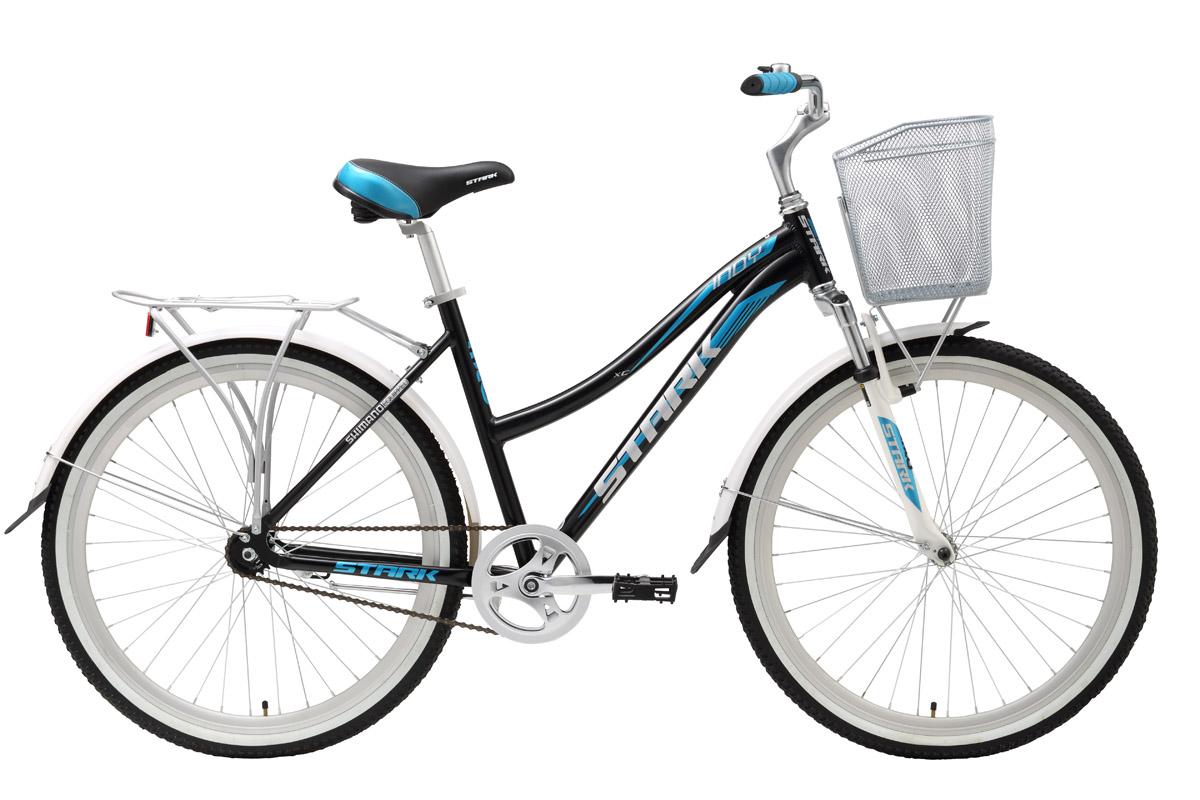 Велосипед Stark Indy Lady Single (2016) черно-голубой 18КОМФОРТНЫЕ<br>Простота и надёжность недорогого дорожного велосипеда Stark Indy Lady Single оценена многими нашими покупателями. Лёгкая и красивая алюминиевая рама, лёгкие и крепкие алюминиевые двойные обода размером 26 сообщают дорожному велосипеду приятную лёгкость хода. Торможение выполняется обратным вращением педалей. Благодаря наличию корзинки и крепкого велобагажника, велосипед удобен для поездок за покупками. Но никогда, не грузите велобагажники более чем на 25кг, они на это не рассчитаны. Так же, не стоит перегружать корзинку на руле, это отрицательно сказывается на управляемости велосипеда. При правильной эксплуатации велосипеда и правильном, кстати, не частом обслуживании вы получите надёжного помощника и, просто, красивый и недорогой дорожный велосипед для велопрогулок.<br><br>бренд: STARK<br>год: 2016<br>рама: Алюминий (Alloy)<br>вилка: Амортизационная (пружина)<br>блокировка амортизатора: Нет<br>диаметр колес: 26<br>тормоза: Ножной ( Coaster brake)<br>уровень оборудования: Начальный<br>количество скоростей: 1<br>Цвет: черно-голубой<br>Размер: 18